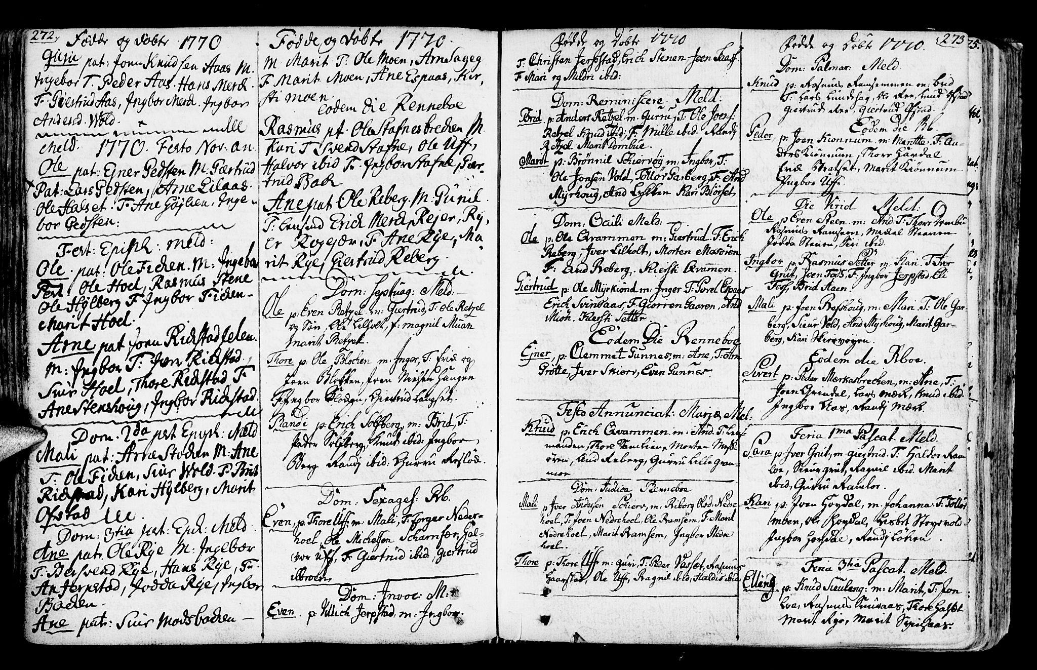 SAT, Ministerialprotokoller, klokkerbøker og fødselsregistre - Sør-Trøndelag, 672/L0851: Ministerialbok nr. 672A04, 1751-1775, s. 272-273