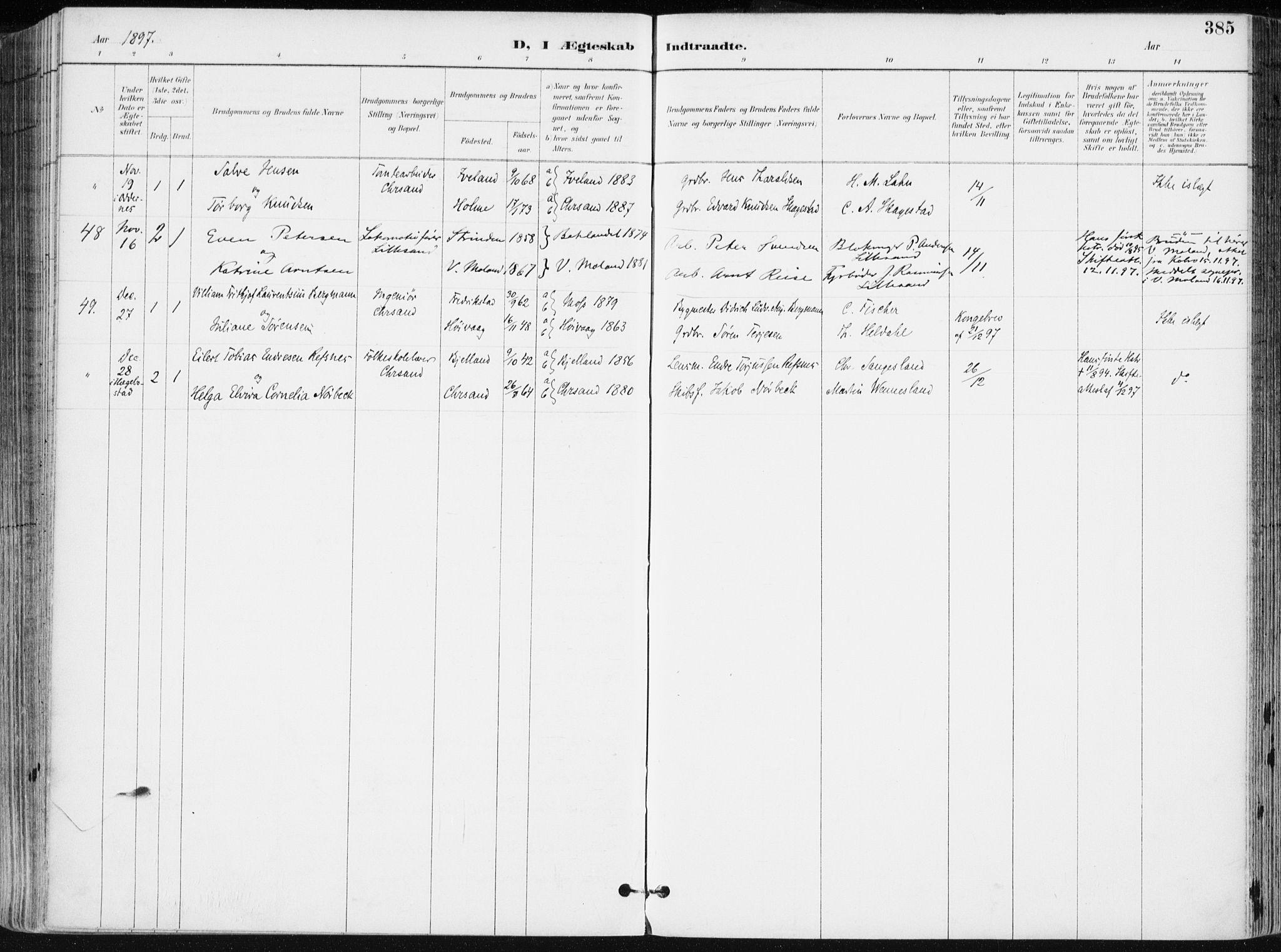 SAK, Kristiansand domprosti, F/Fa/L0019: Ministerialbok nr. A 18, 1890-1897, s. 385