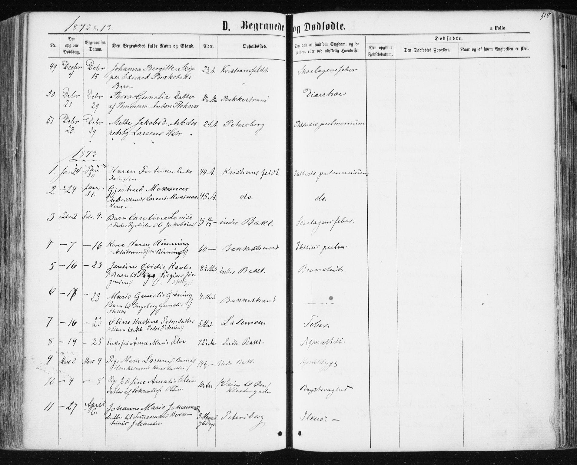 SAT, Ministerialprotokoller, klokkerbøker og fødselsregistre - Sør-Trøndelag, 604/L0186: Ministerialbok nr. 604A07, 1866-1877, s. 515