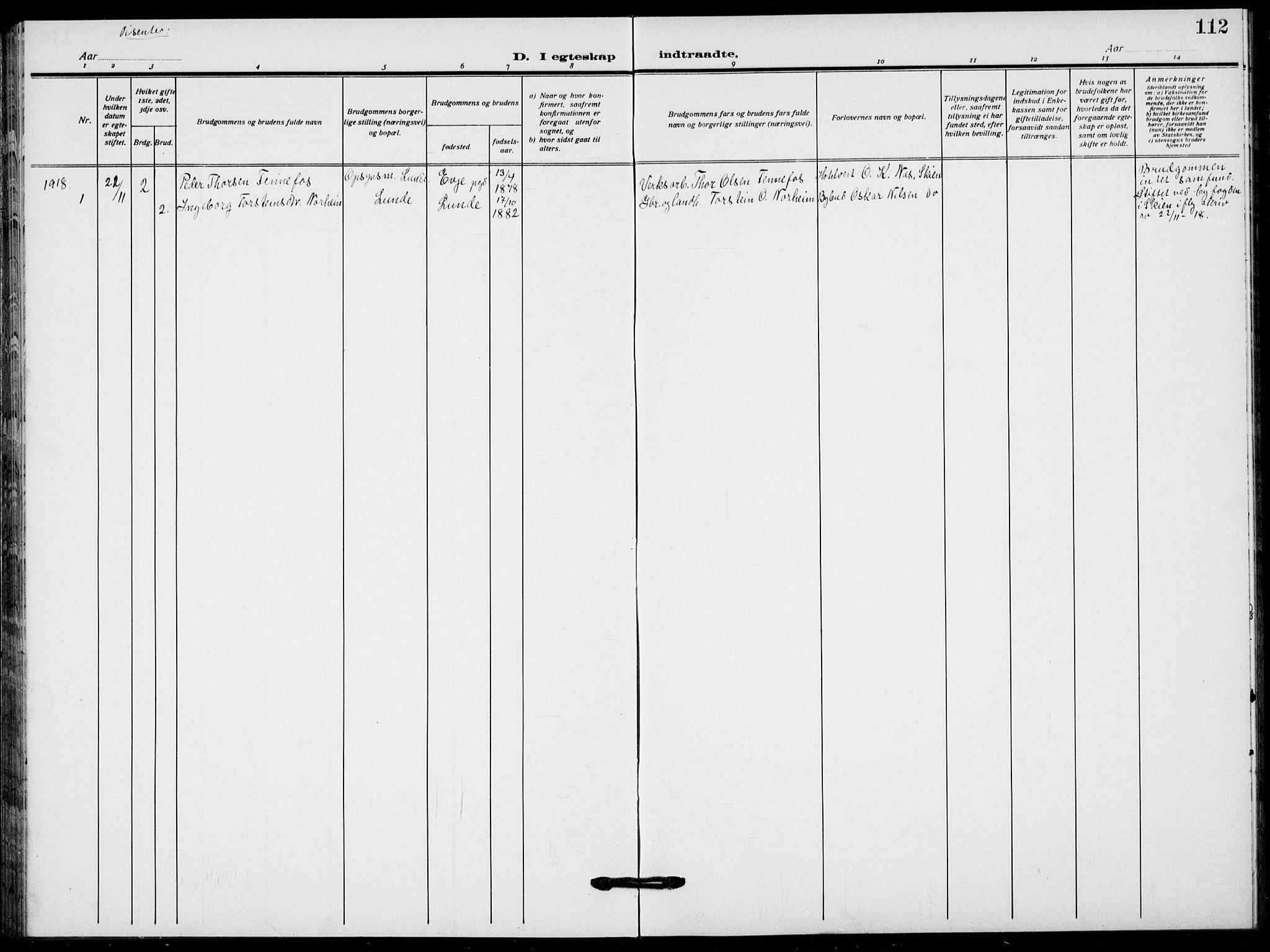 SAKO, Lunde kirkebøker, F/Fa/L0005: Ministerialbok nr. I 5, 1914-1922, s. 112