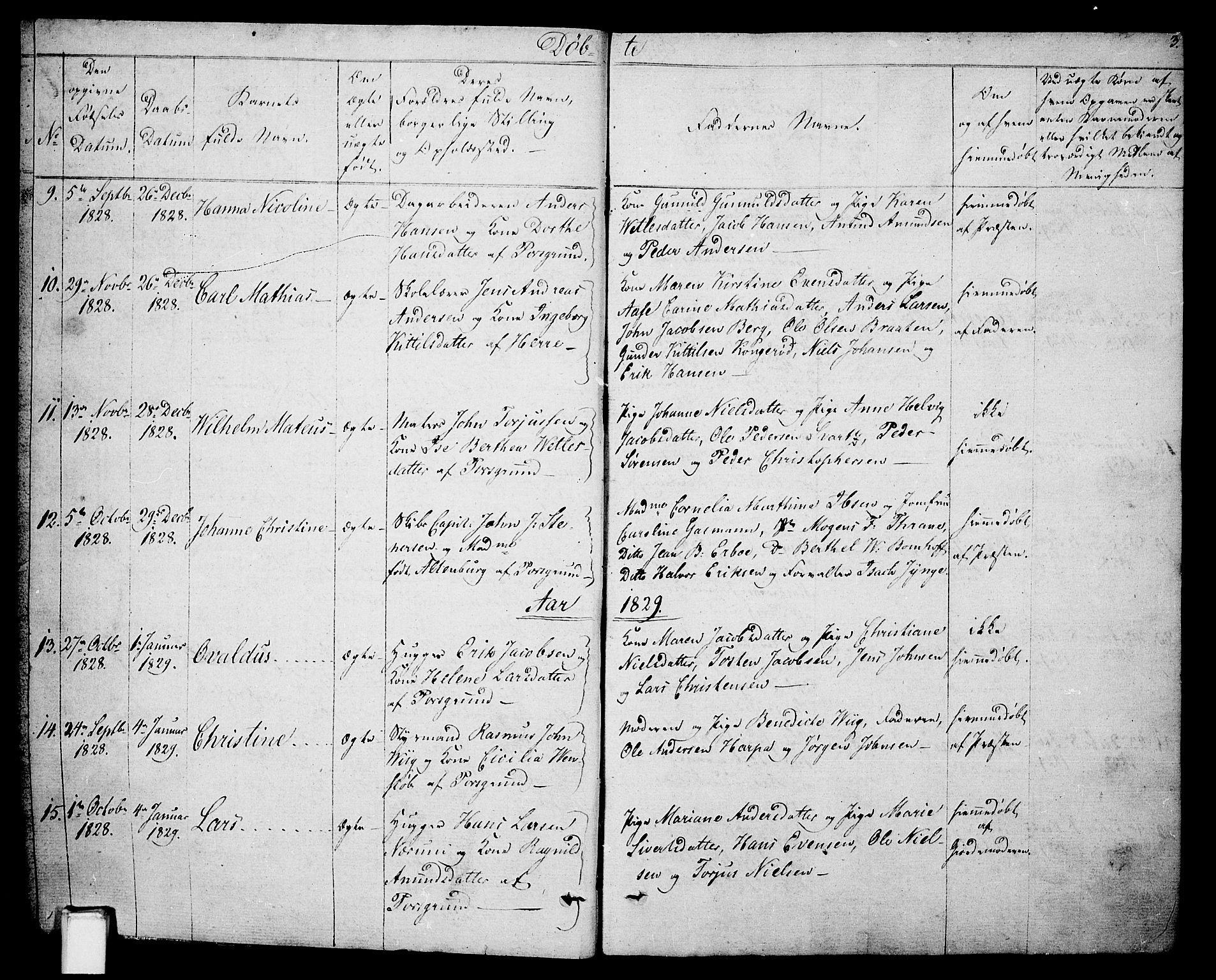 SAKO, Porsgrunn kirkebøker , F/Fa/L0005: Ministerialbok nr. 5, 1828-1840, s. 3