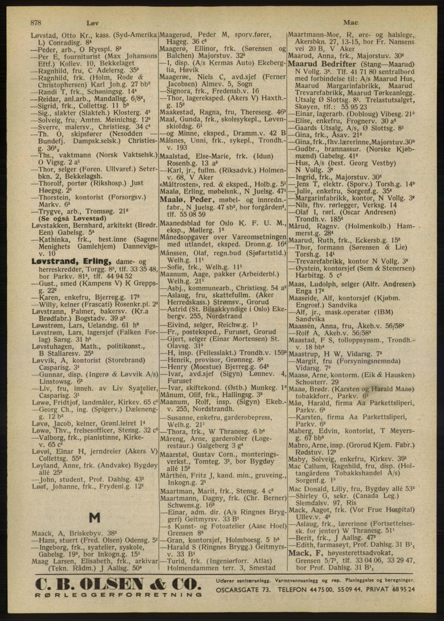 RA, Oslo adressebok (publikasjon)*, 1947, s. 878