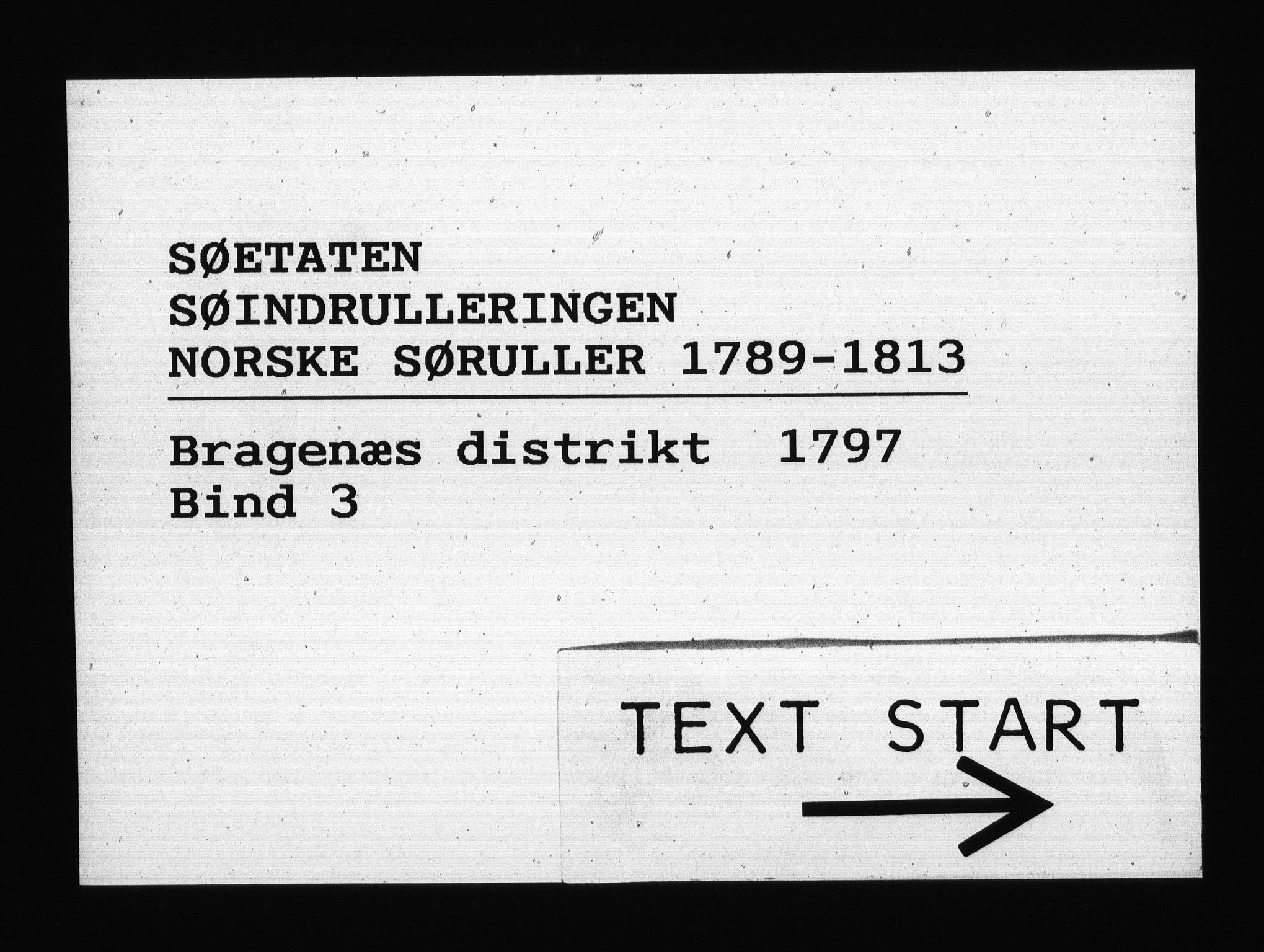RA, Sjøetaten, F/L0122: Bragernes distrikt, bind 3, 1797