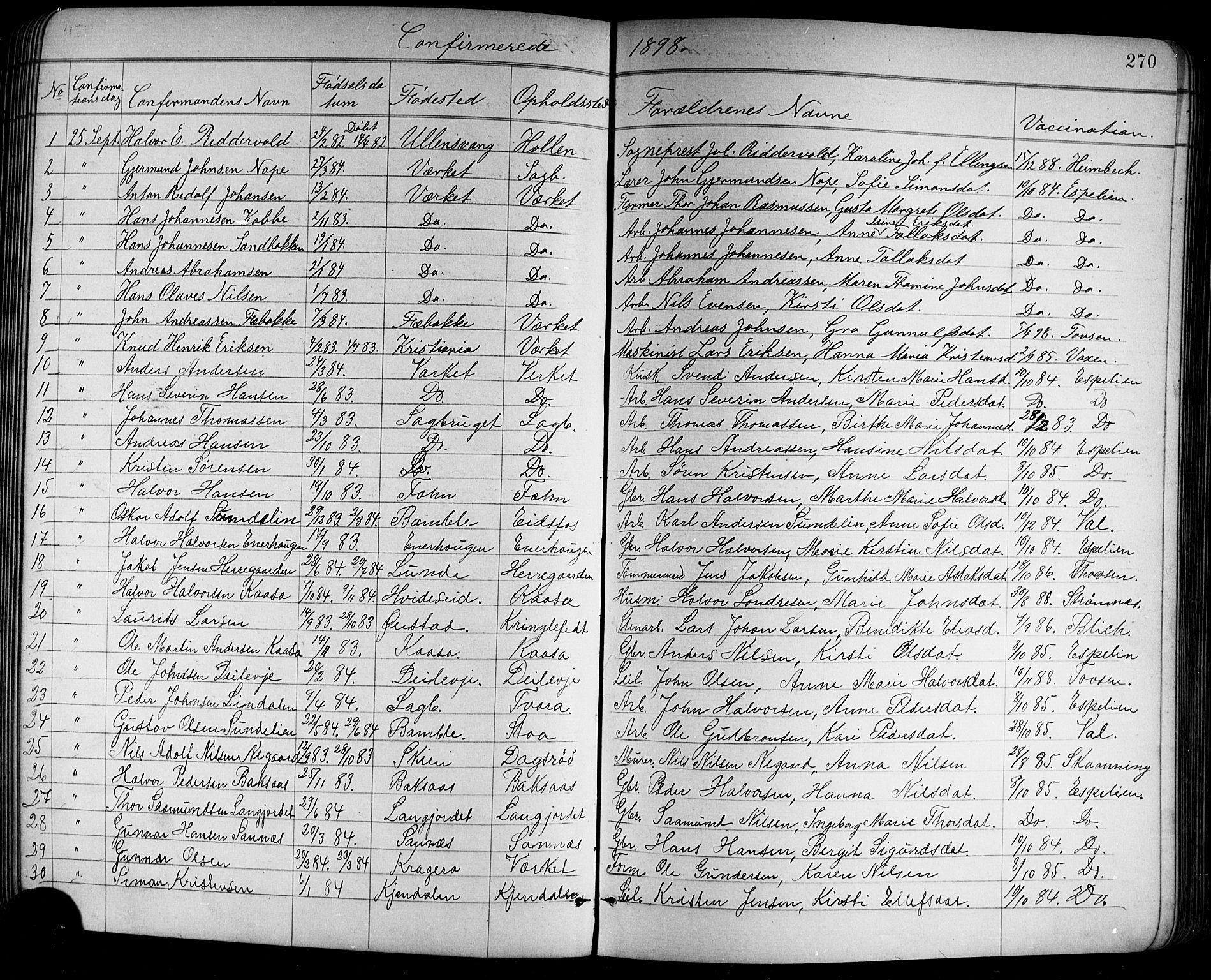 SAKO, Holla kirkebøker, G/Ga/L0005: Klokkerbok nr. I 5, 1891-1917, s. 270