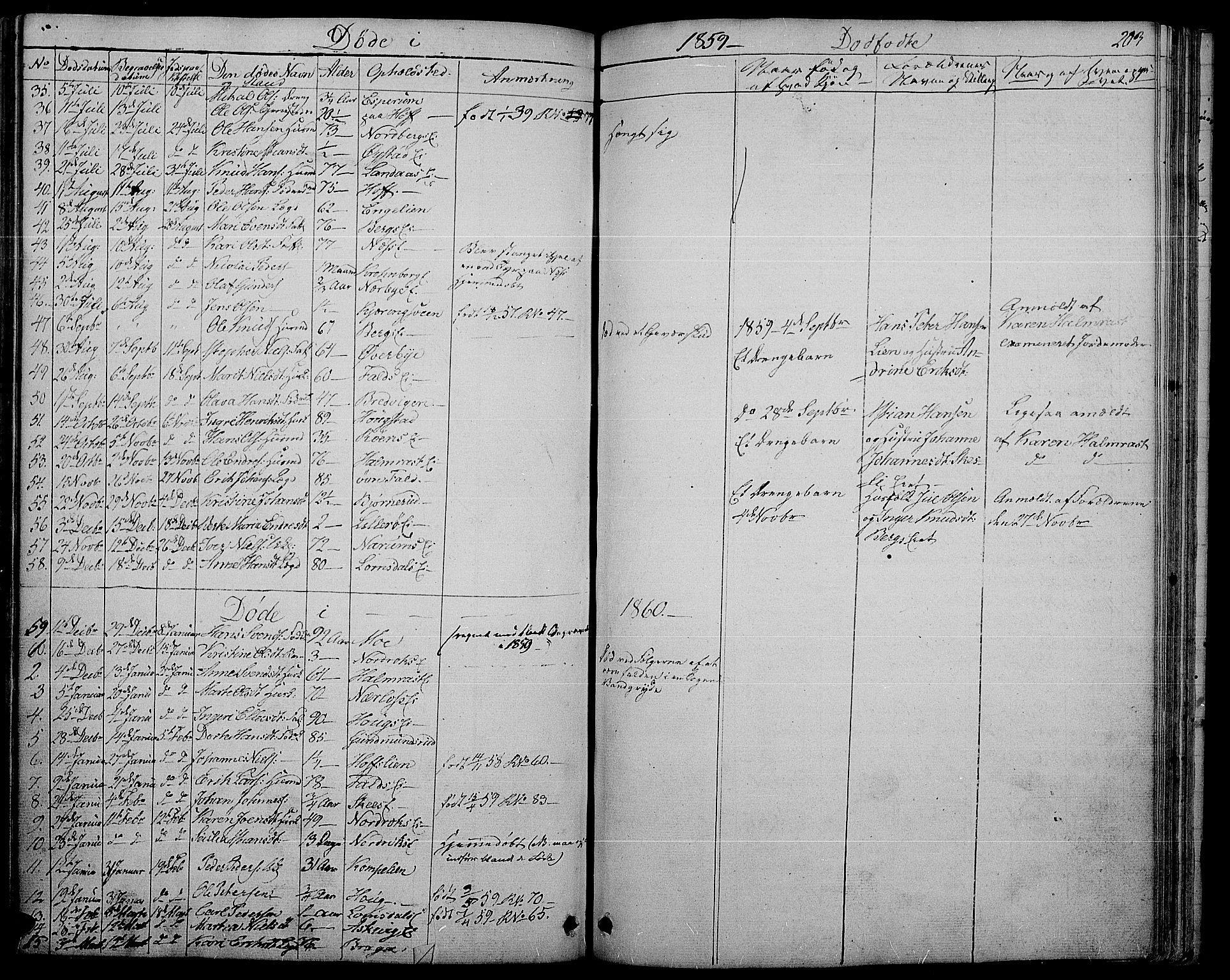SAH, Søndre Land prestekontor, L/L0001: Klokkerbok nr. 1, 1849-1883, s. 203