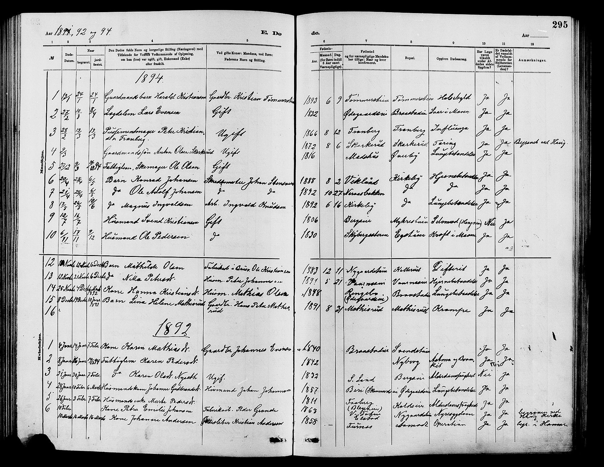 SAH, Vardal prestekontor, H/Ha/Hab/L0007: Klokkerbok nr. 7 /1, 1881-1895, s. 295