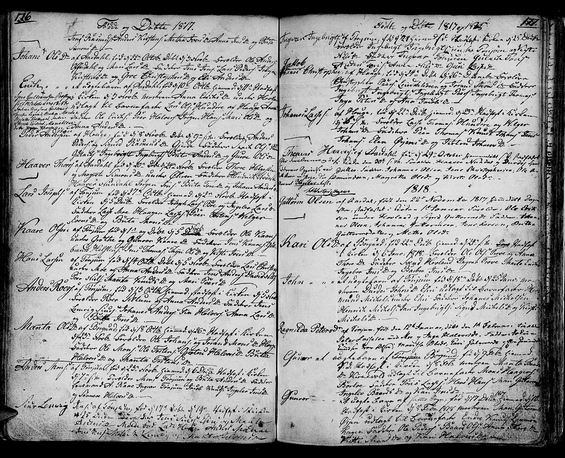 SAB, Lærdal sokneprestembete, Ministerialbok nr. A 4, 1805-1821, s. 176-177