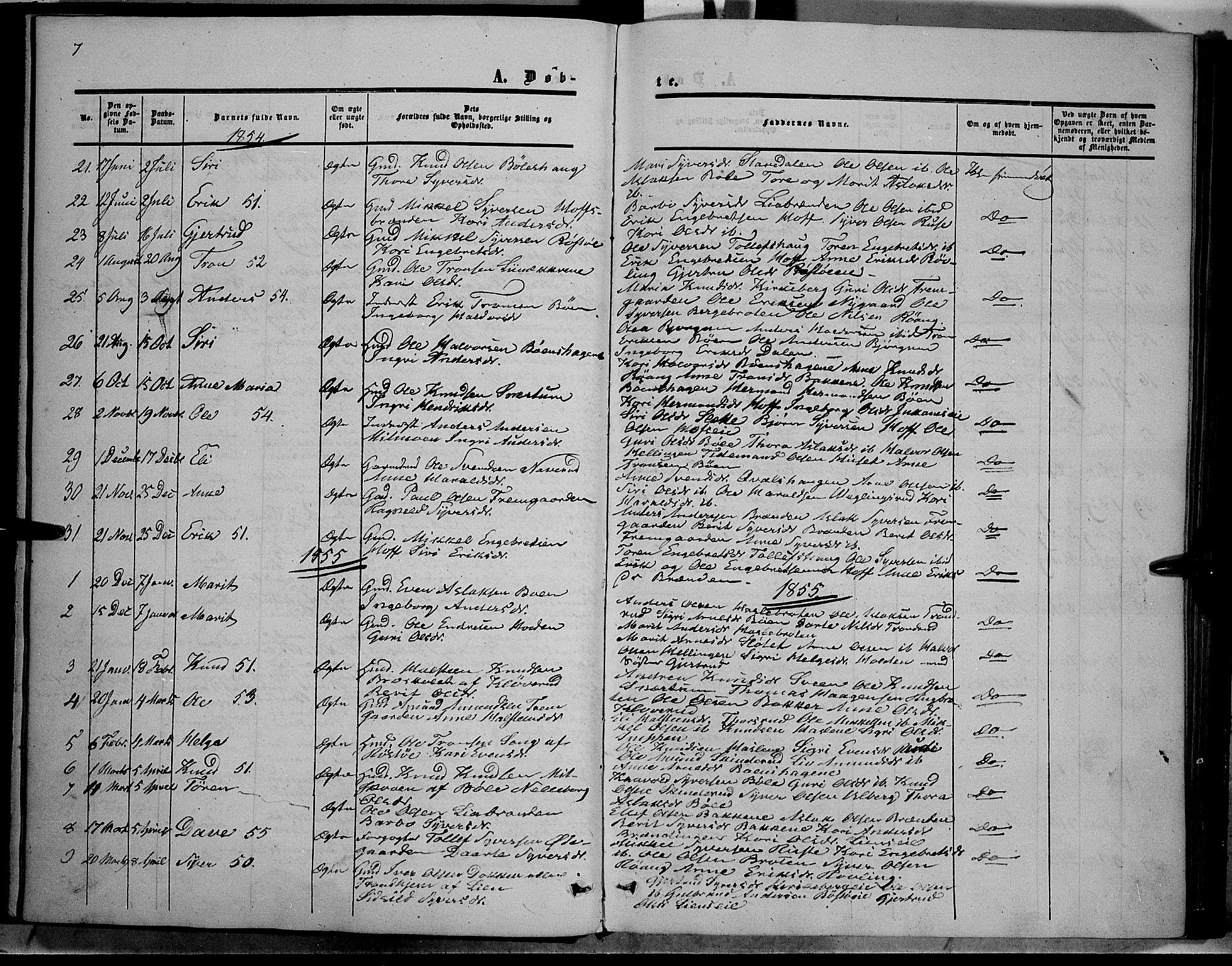 SAH, Sør-Aurdal prestekontor, Ministerialbok nr. 6, 1849-1876, s. 7