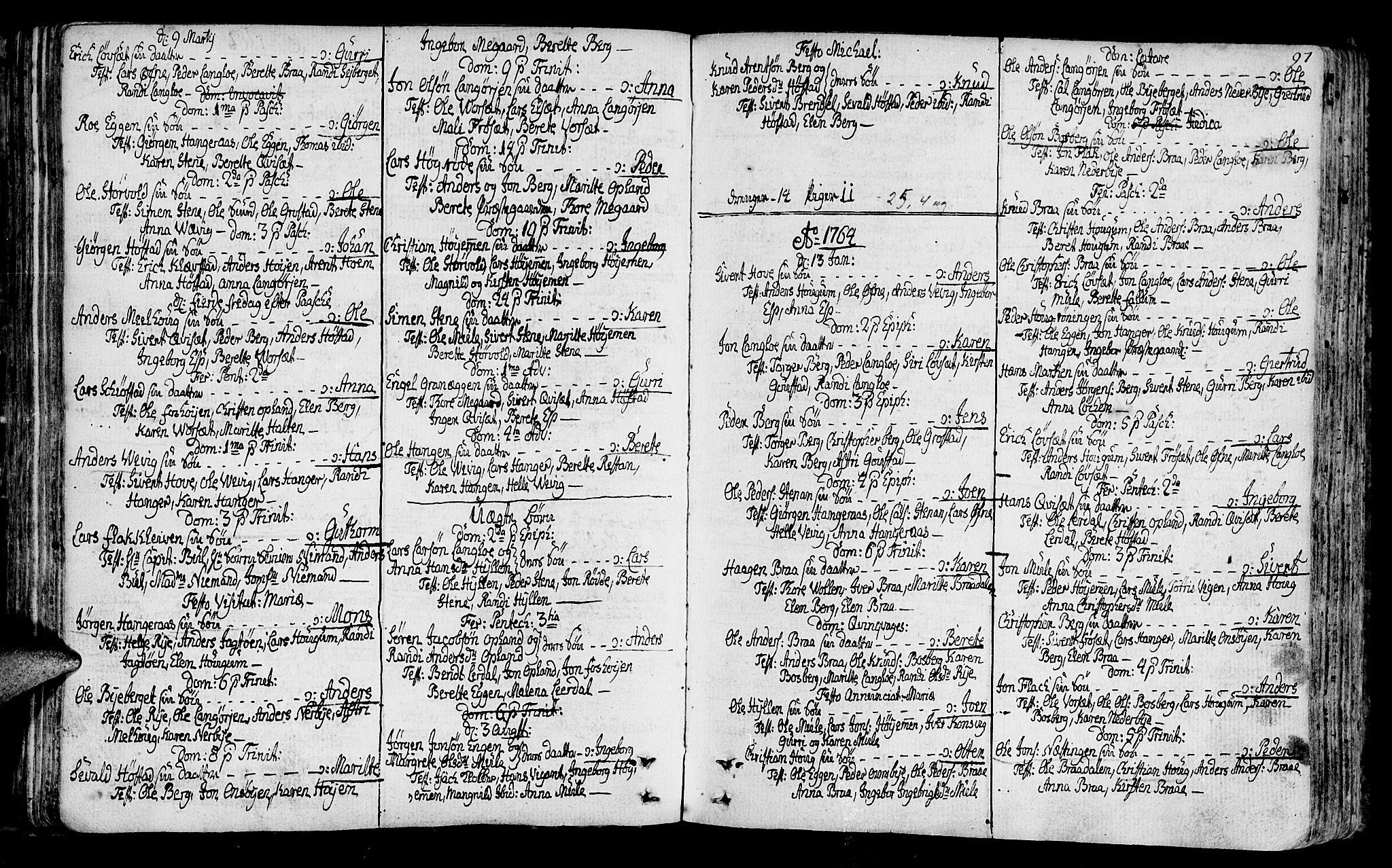 SAT, Ministerialprotokoller, klokkerbøker og fødselsregistre - Sør-Trøndelag, 612/L0370: Ministerialbok nr. 612A04, 1754-1802, s. 97
