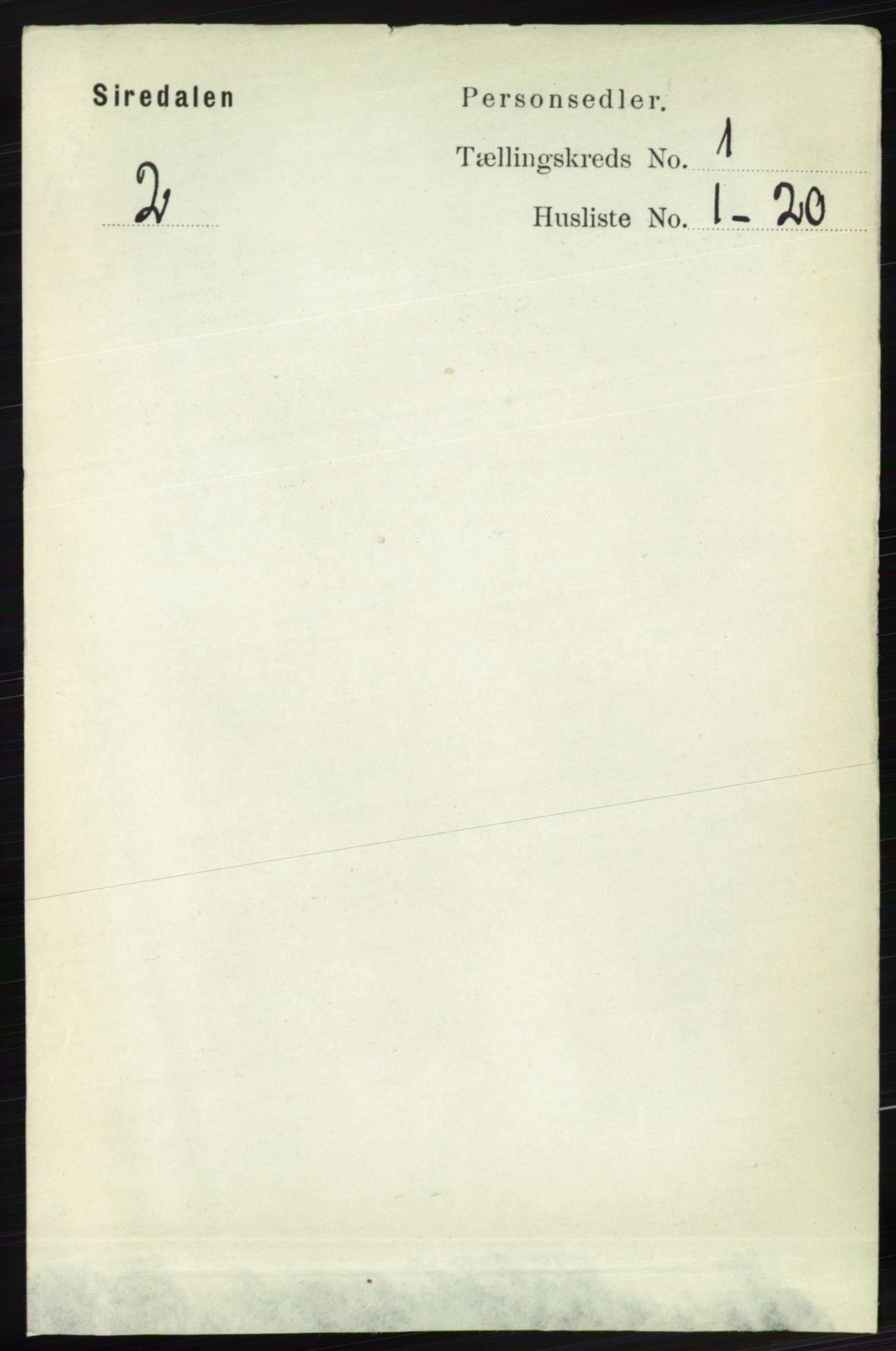 RA, Folketelling 1891 for 1046 Sirdal herred, 1891, s. 60
