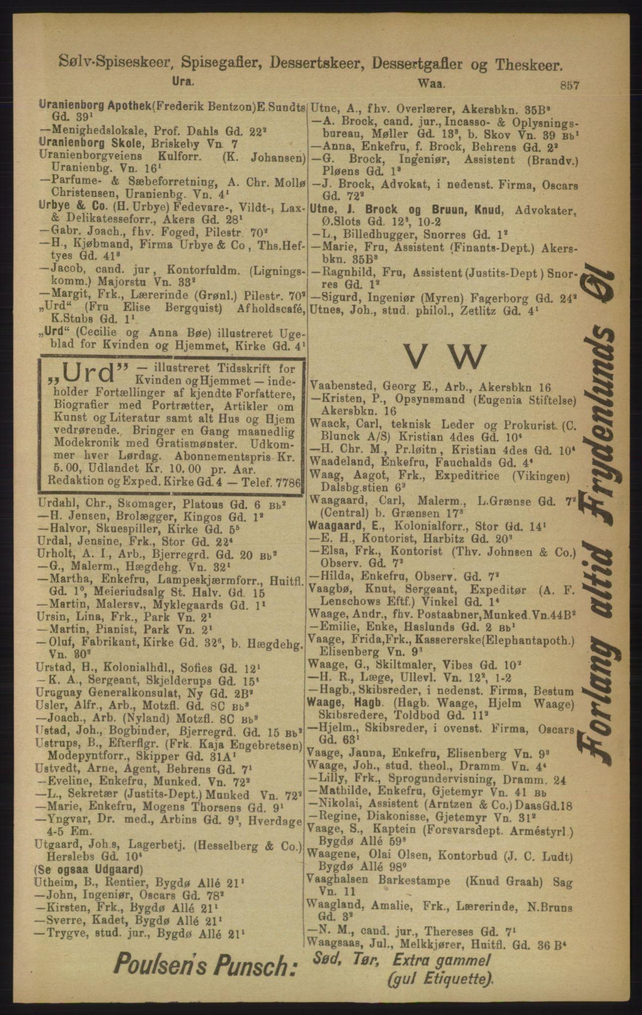 RA, Kristiania adressebok (publikasjon)*, 1906, s. 857