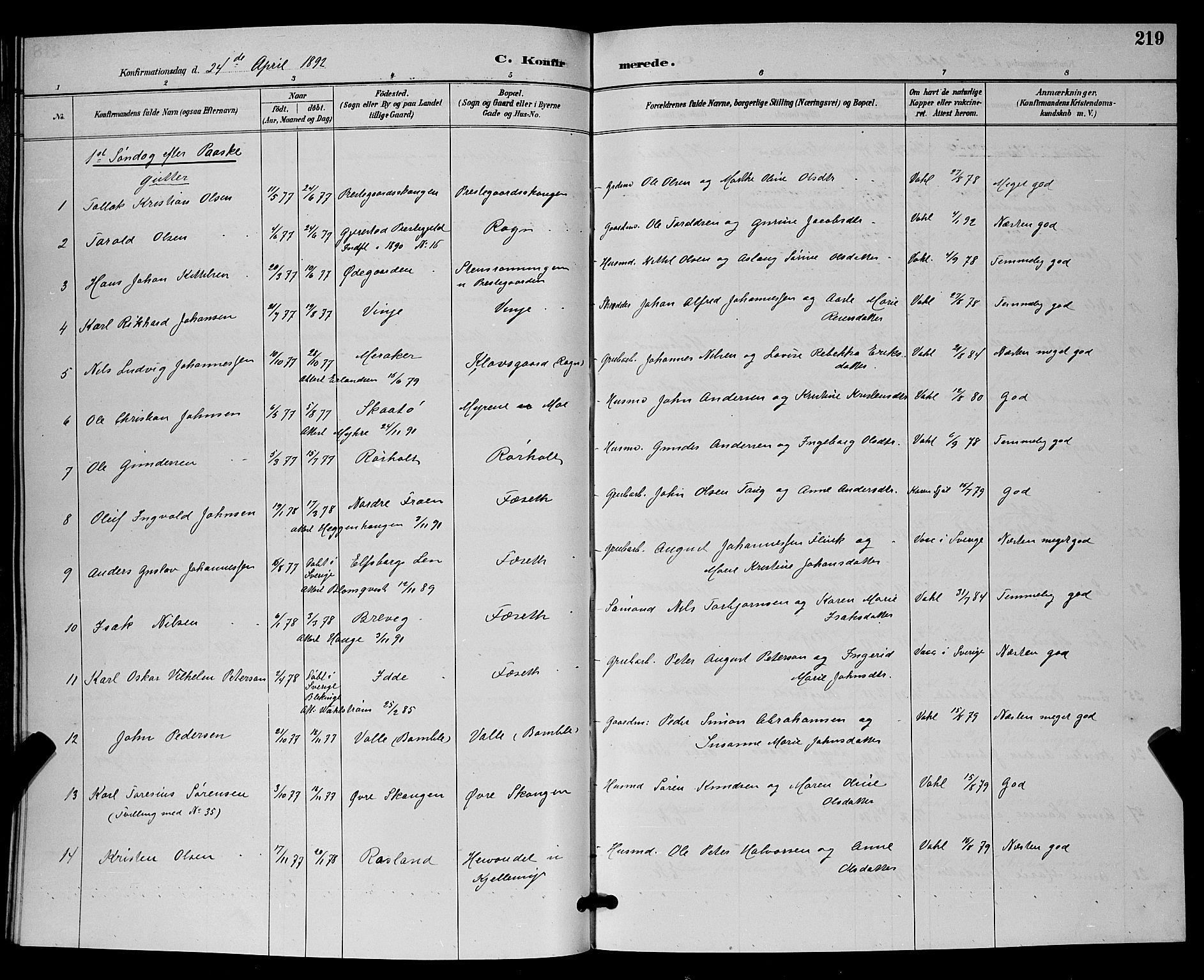 SAKO, Bamble kirkebøker, G/Ga/L0009: Klokkerbok nr. I 9, 1888-1900, s. 219