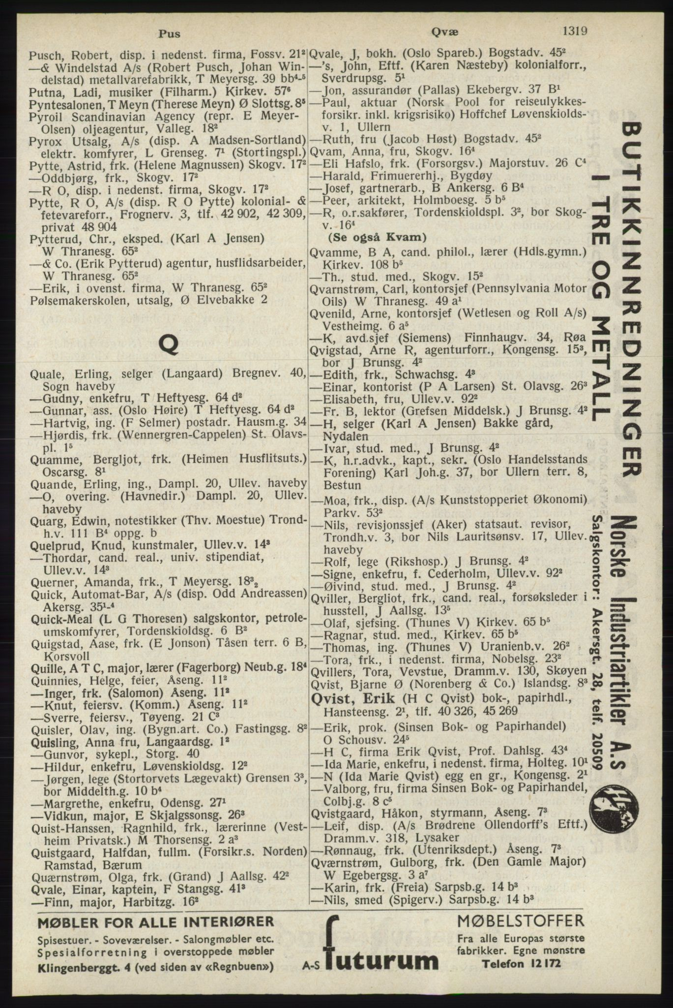 RA, Oslo adressebok (publikasjon)*, 1940, s. 1319