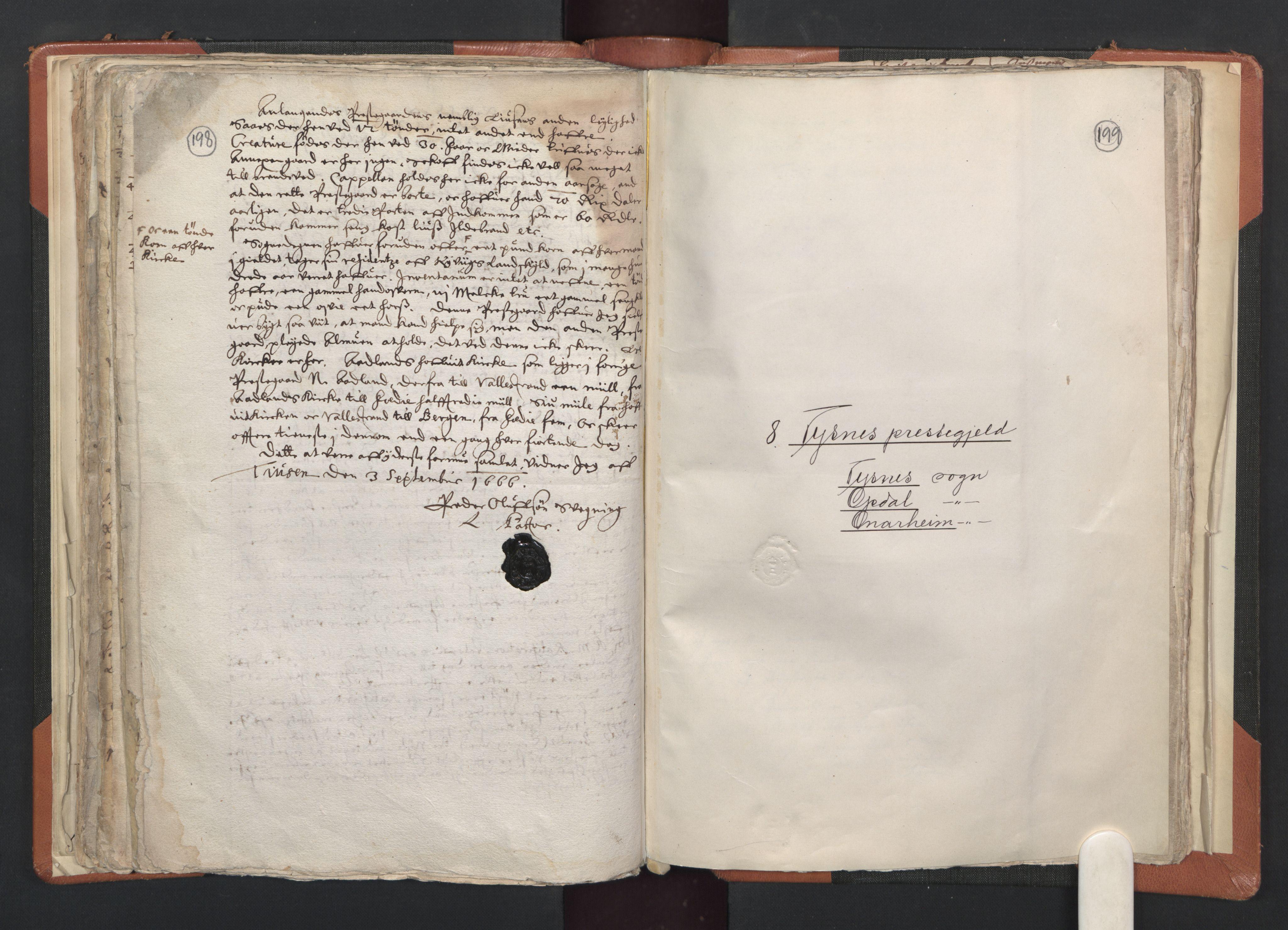 RA, Sogneprestenes manntall 1664-1666, nr. 20: Sunnhordland prosti, 1664-1666, s. 198-199