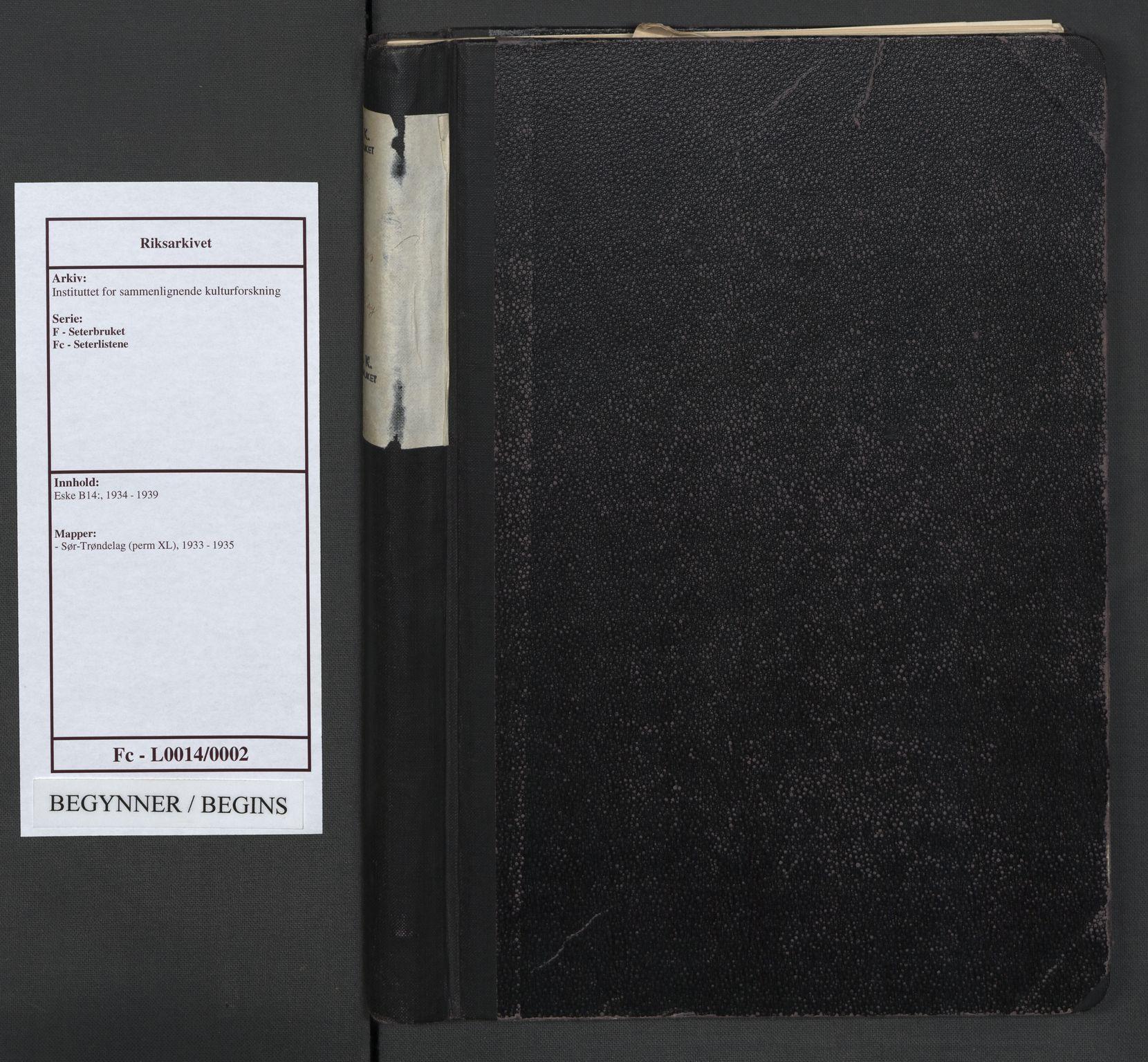 RA, Instituttet for sammenlignende kulturforskning, F/Fc/L0014: Eske B14:, 1933-1935, s. upaginert
