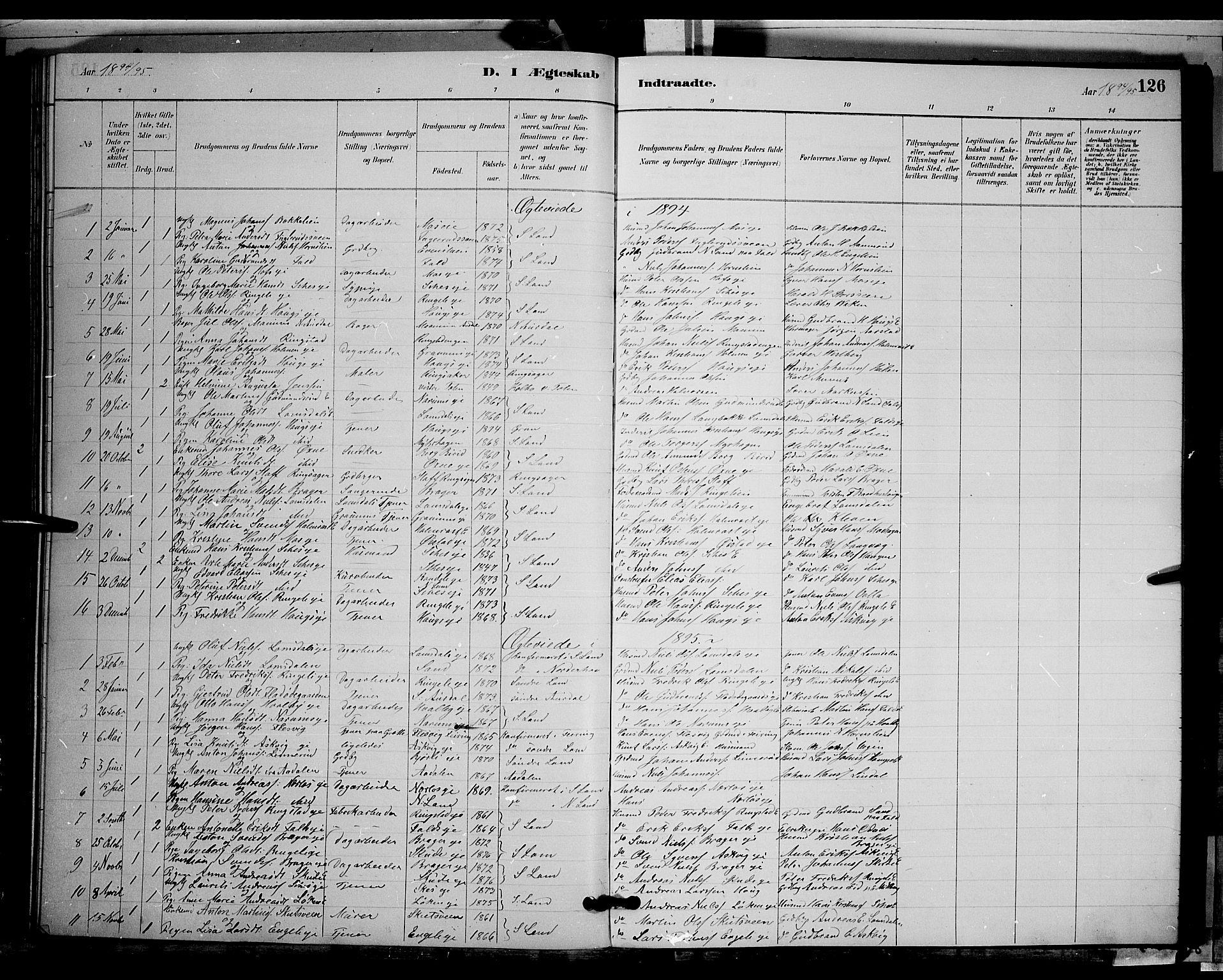 SAH, Søndre Land prestekontor, L/L0002: Klokkerbok nr. 2, 1884-1900, s. 126