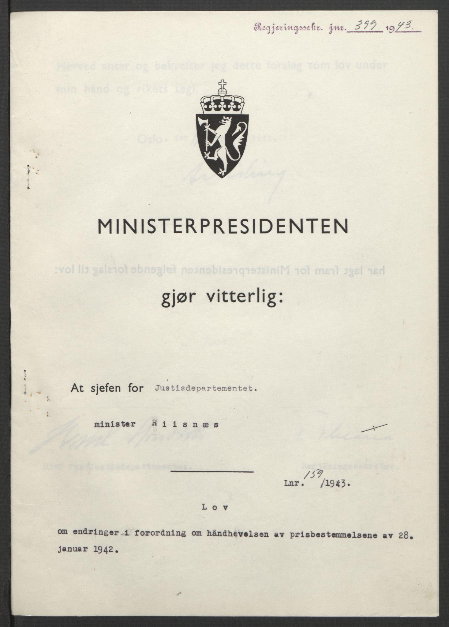 RA, NS-administrasjonen 1940-1945 (Statsrådsekretariatet, de kommisariske statsråder mm), D/Db/L0099: Lover, 1943, s. 753