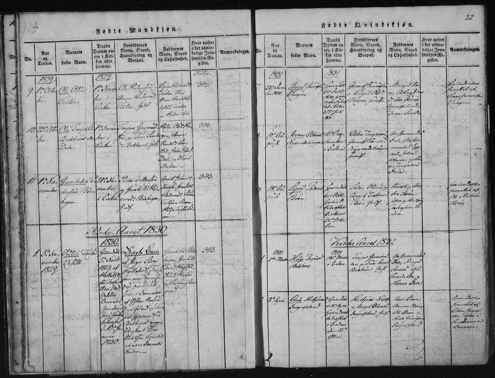 SAKO, Tinn kirkebøker, F/Fc/L0001: Ministerialbok nr. III 1, 1815-1843, s. 22