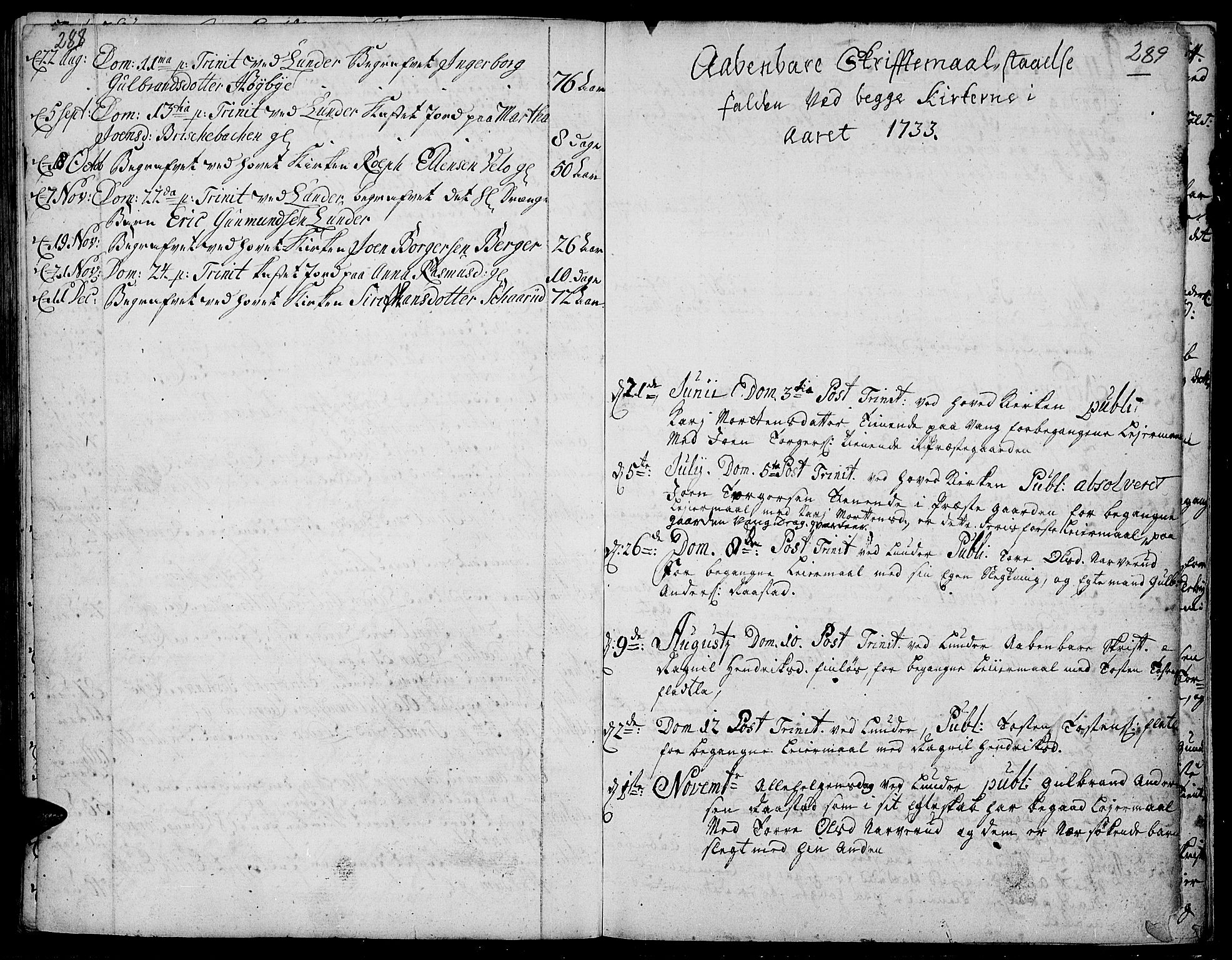 SAH, Jevnaker prestekontor, Ministerialbok nr. 2, 1725-1751, s. 288-289
