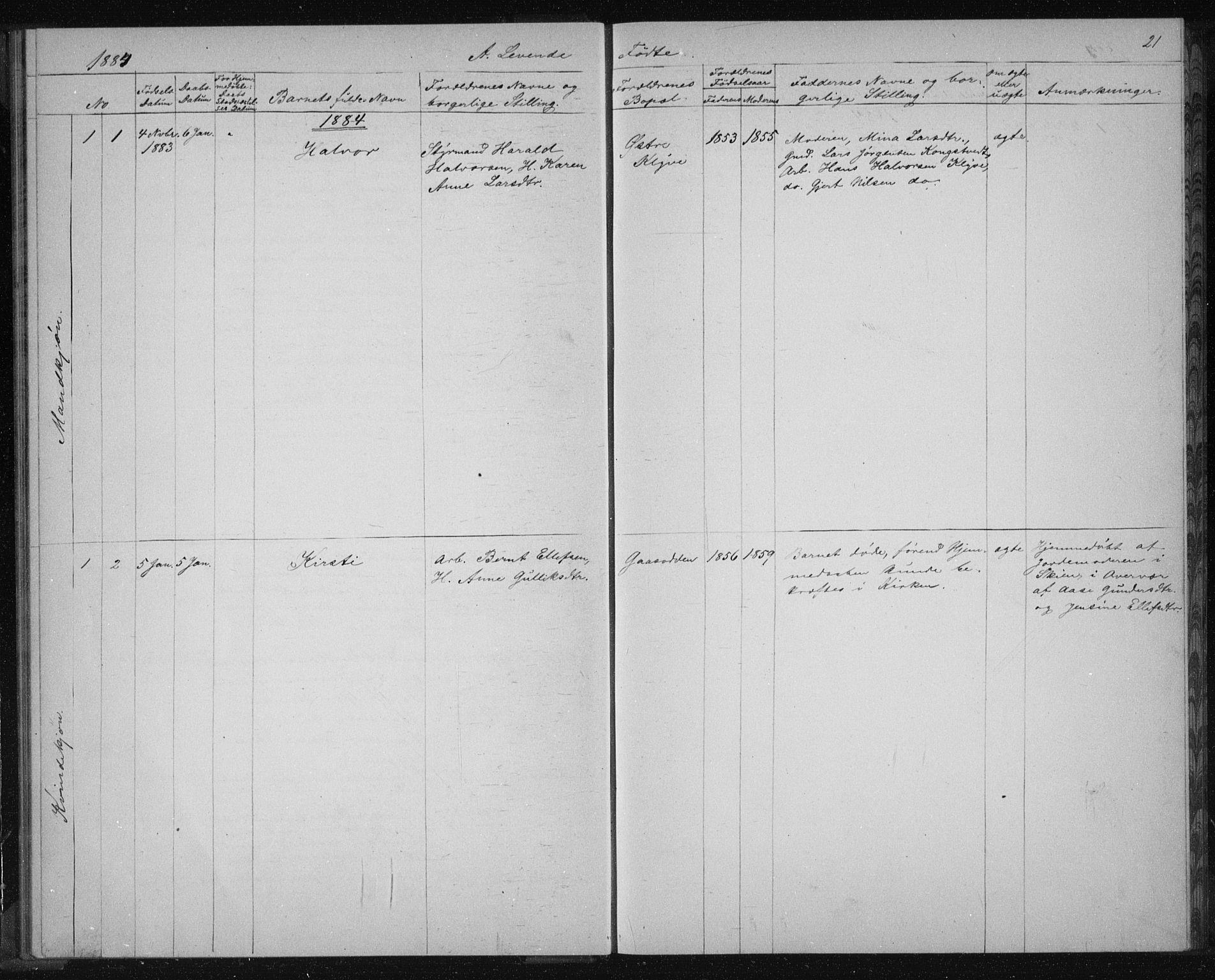 SAKO, Solum kirkebøker, G/Ga/L0006: Klokkerbok nr. I 6, 1882-1883, s. 21
