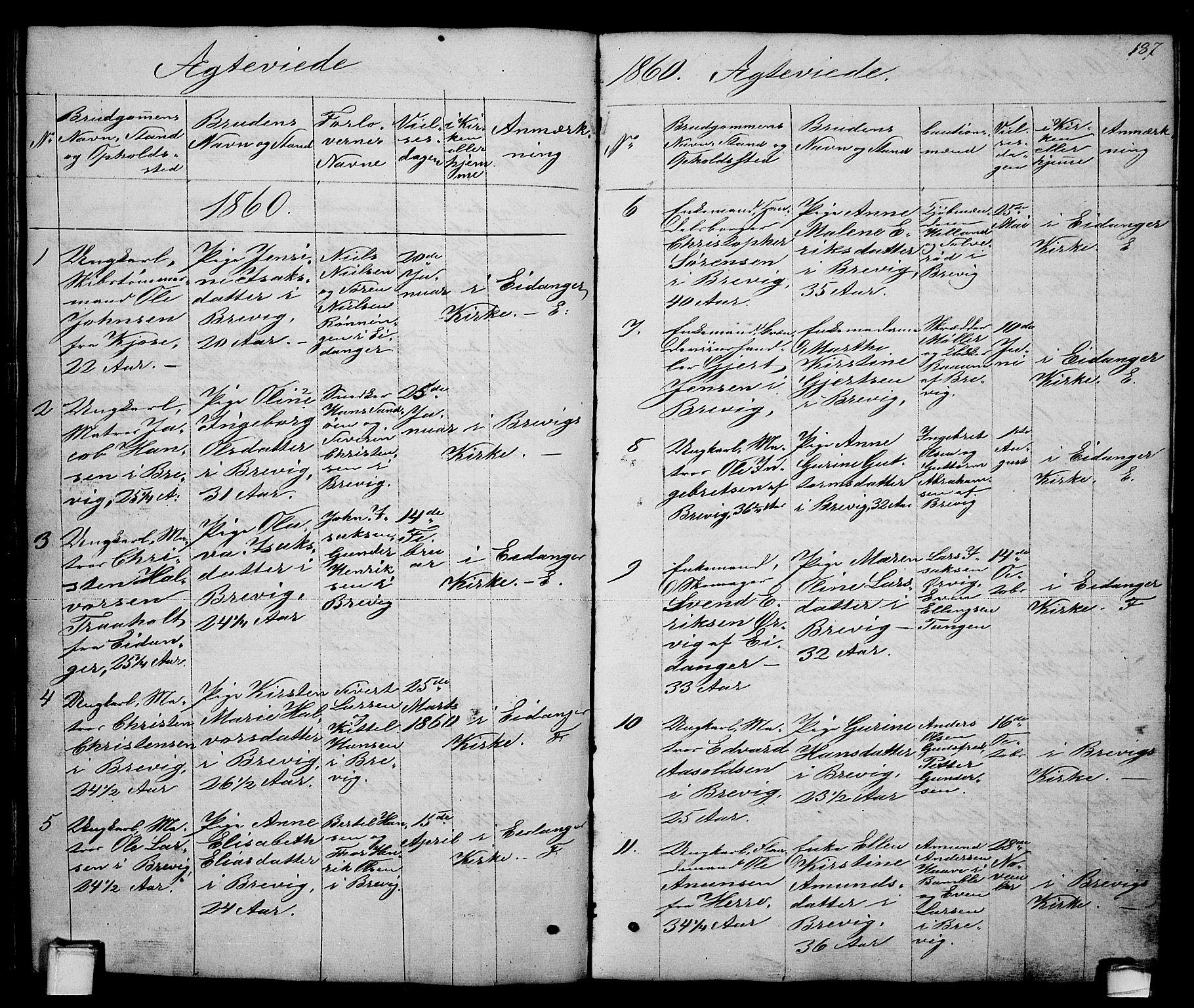 SAKO, Brevik kirkebøker, G/Ga/L0002: Klokkerbok nr. 2, 1846-1865, s. 187