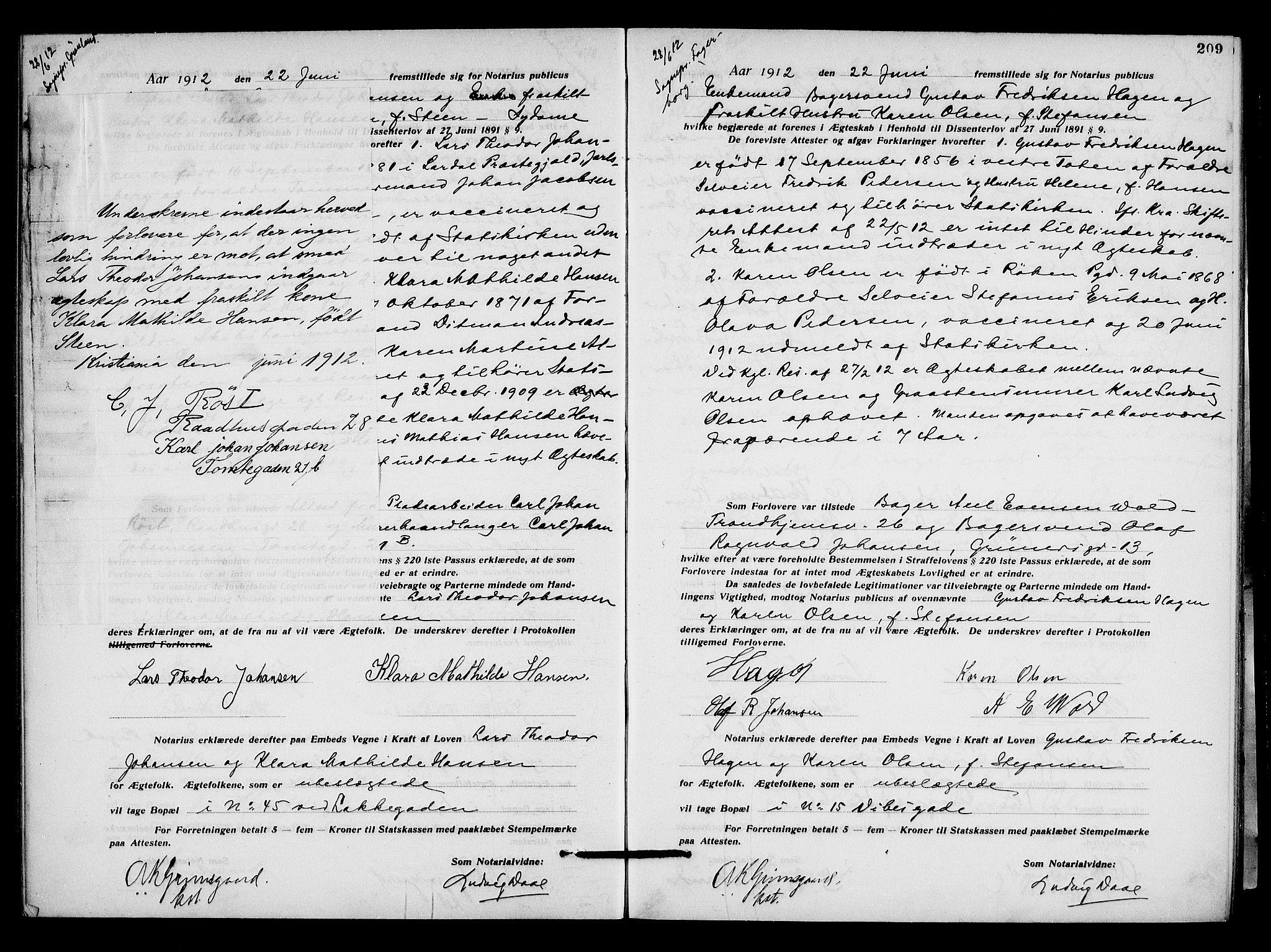 SAO, Oslo byfogd avd. I, L/Lb/Lbb/L0008: Notarialprotokoll, rekke II: Vigsler, 1911-1913, s. 208b-209a