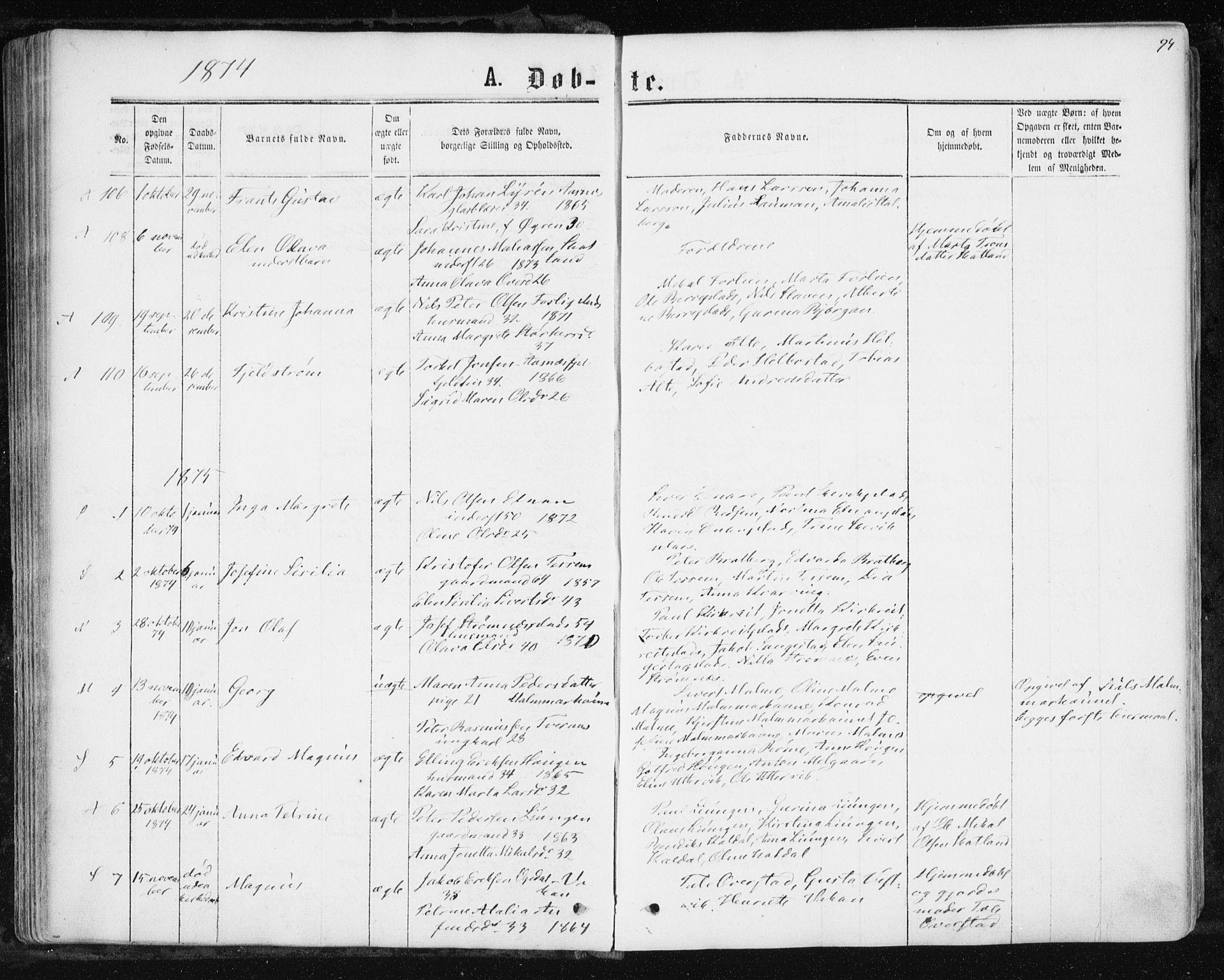 SAT, Ministerialprotokoller, klokkerbøker og fødselsregistre - Nord-Trøndelag, 741/L0394: Ministerialbok nr. 741A08, 1864-1877, s. 94