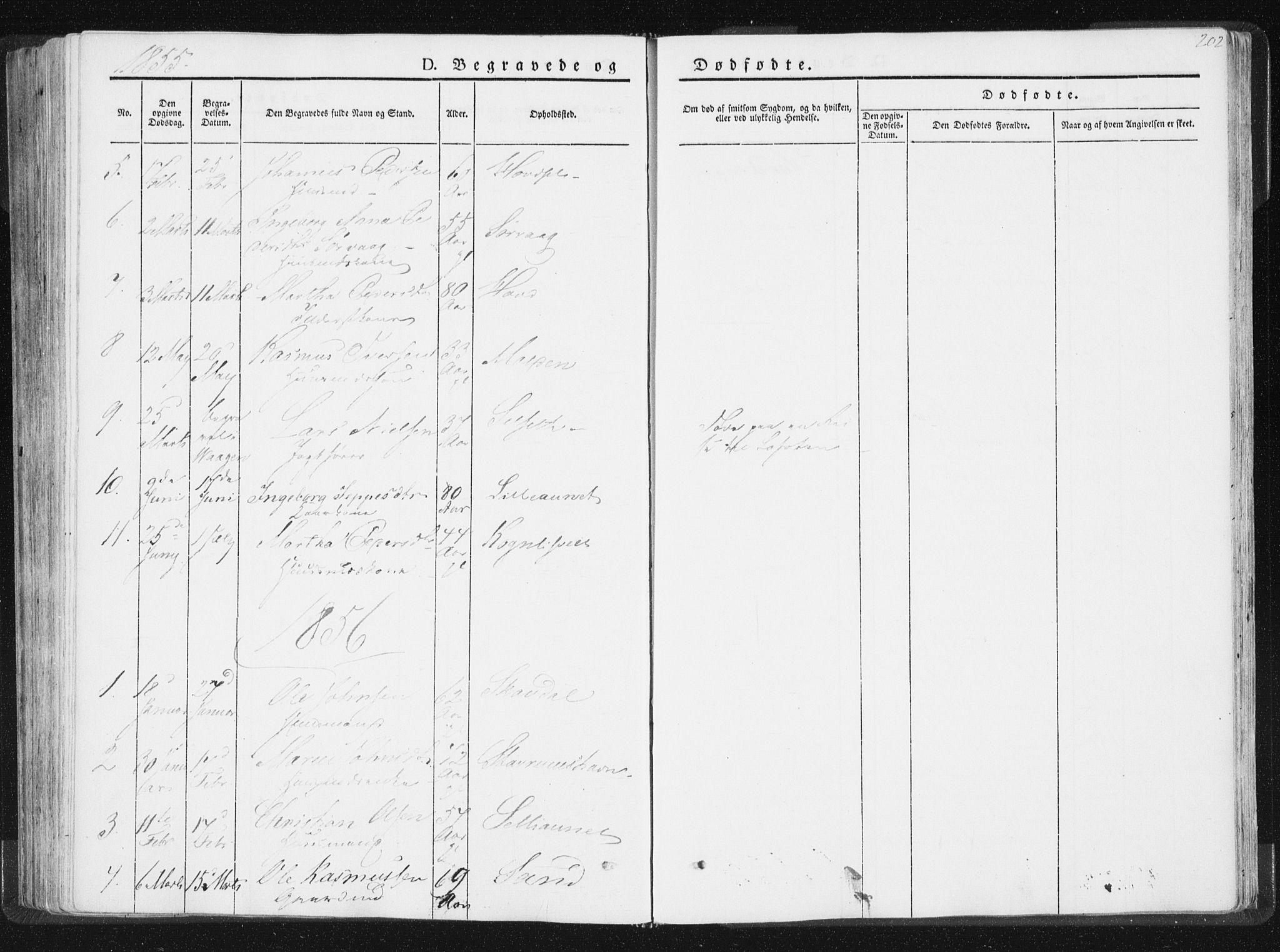 SAT, Ministerialprotokoller, klokkerbøker og fødselsregistre - Nord-Trøndelag, 744/L0418: Ministerialbok nr. 744A02, 1843-1866, s. 202