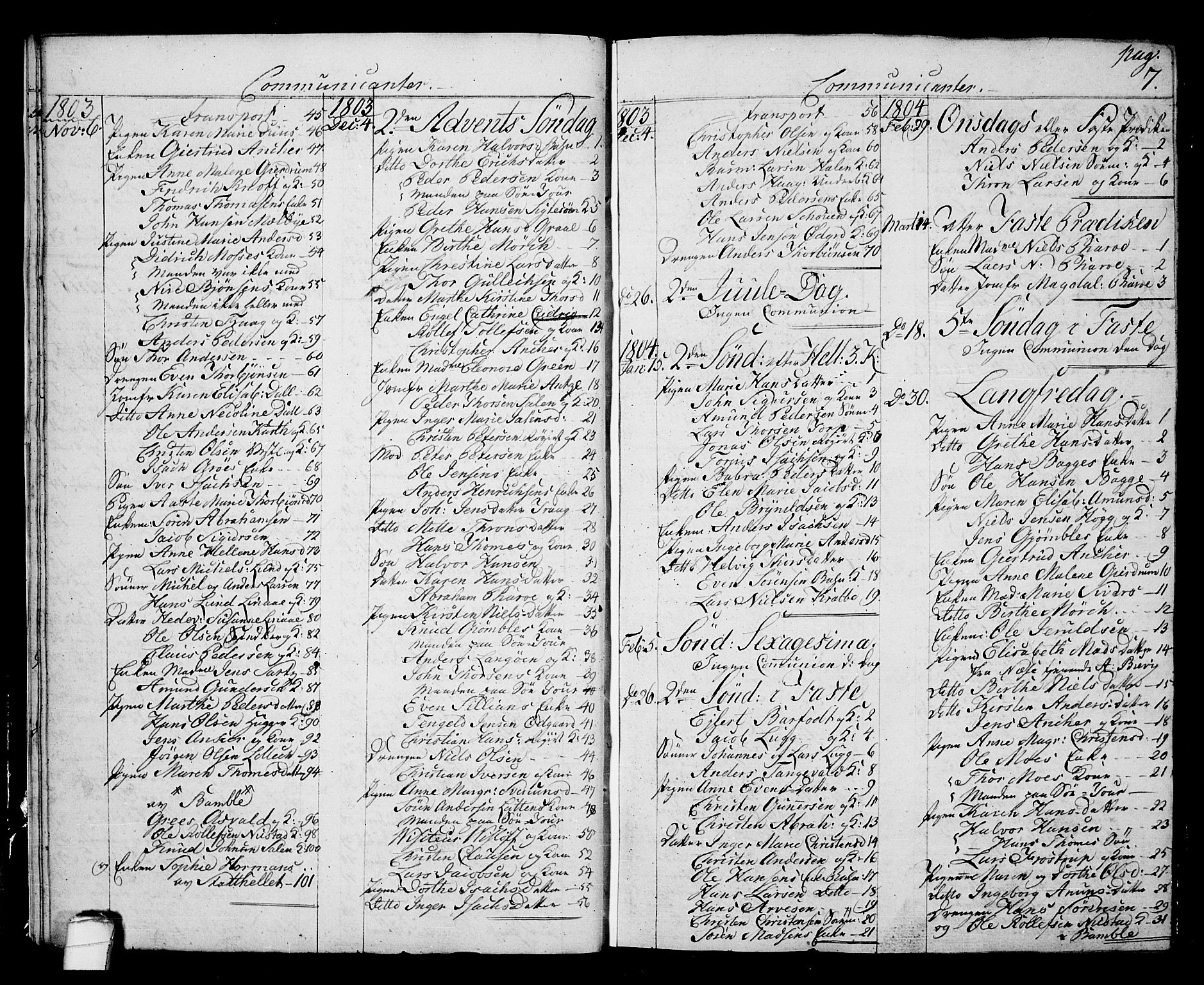 SAKO, Langesund kirkebøker, G/Ga/L0002: Klokkerbok nr. 2, 1801-1815, s. 7