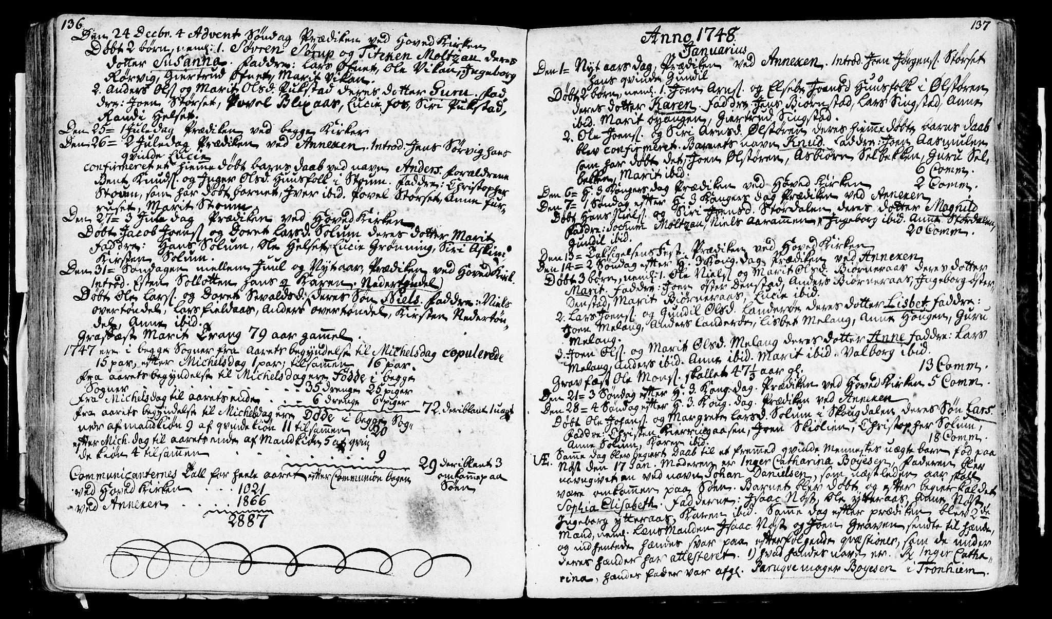 SAT, Ministerialprotokoller, klokkerbøker og fødselsregistre - Sør-Trøndelag, 646/L0604: Ministerialbok nr. 646A02, 1735-1750, s. 136-137
