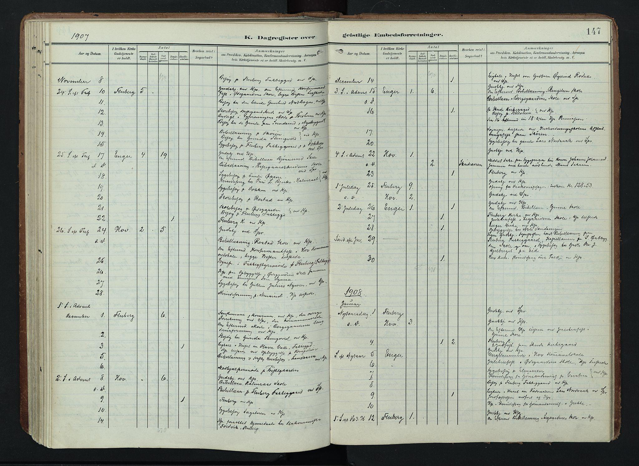 SAH, Søndre Land prestekontor, K/L0005: Ministerialbok nr. 5, 1905-1914, s. 147