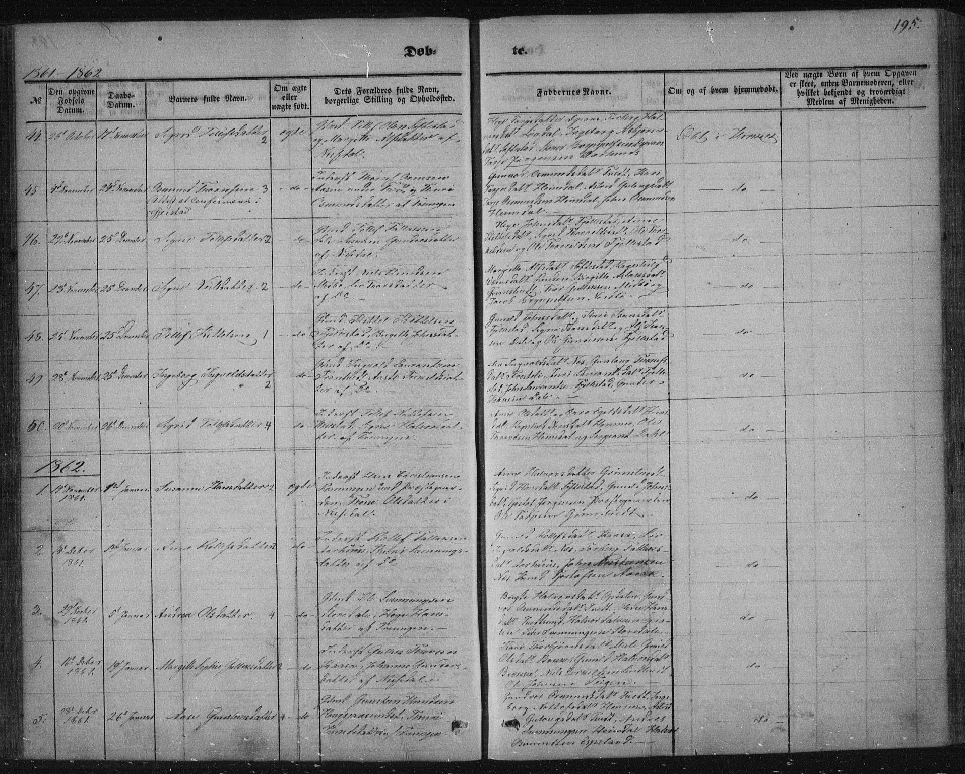 SAKO, Nissedal kirkebøker, F/Fa/L0003: Ministerialbok nr. I 3, 1846-1870, s. 194-195