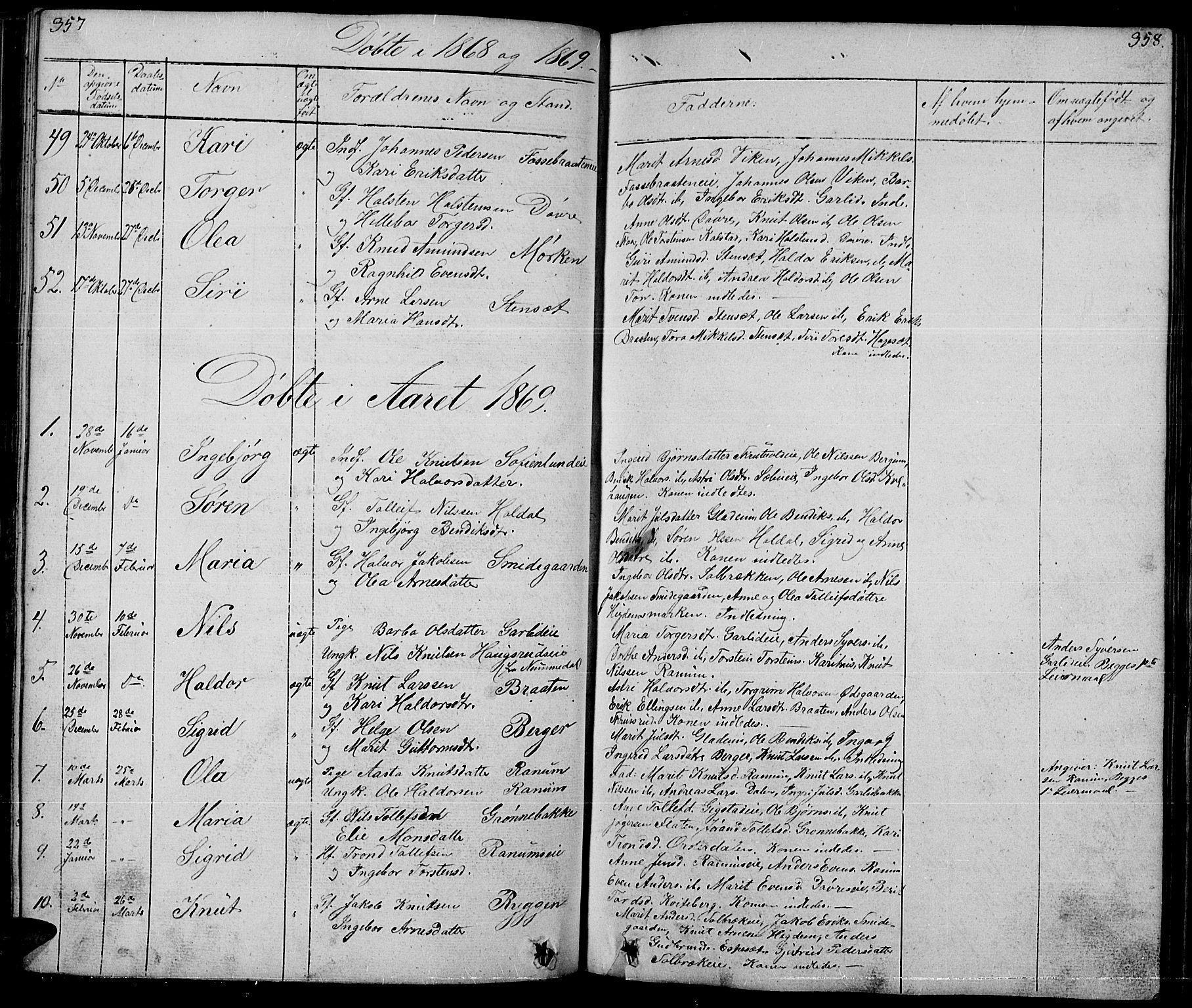 SAH, Nord-Aurdal prestekontor, Klokkerbok nr. 1, 1834-1887, s. 357-358