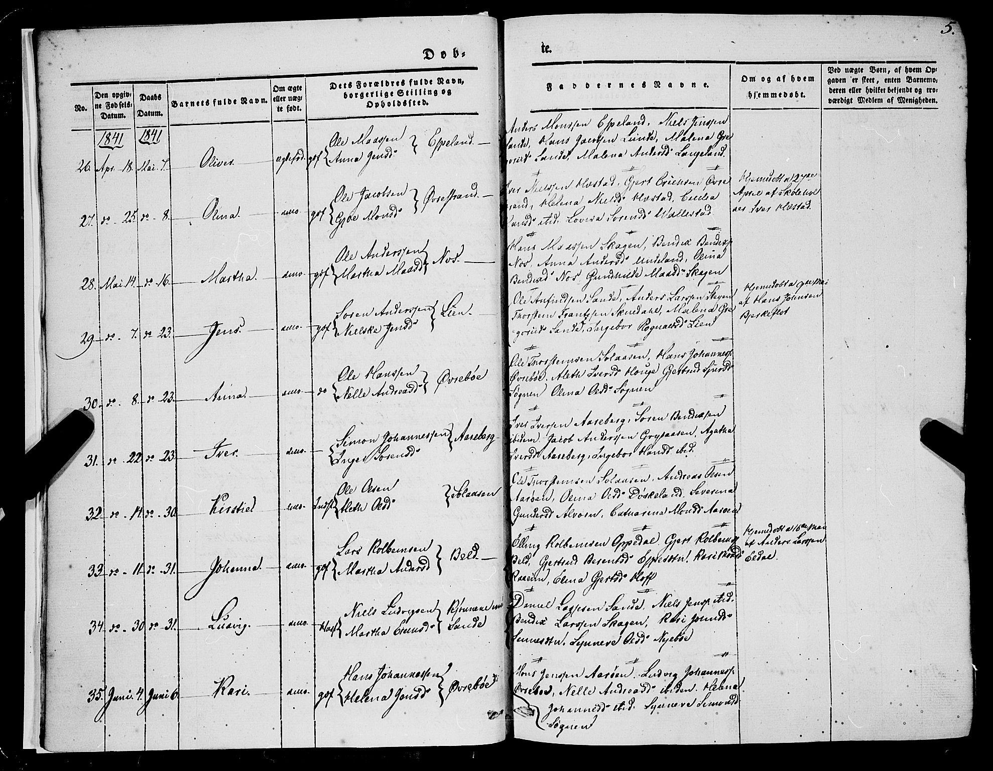 SAB, Gaular Sokneprestembete, H/Haa: Ministerialbok nr. A 4I, 1840-1859, s. 5