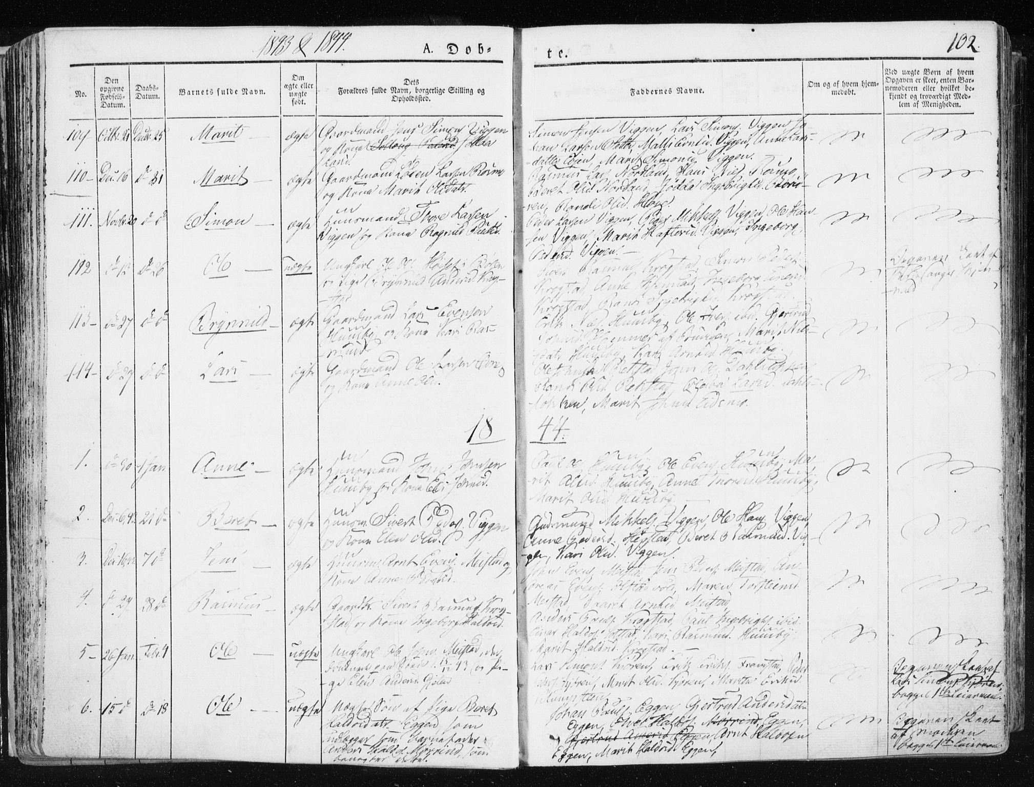 SAT, Ministerialprotokoller, klokkerbøker og fødselsregistre - Sør-Trøndelag, 665/L0771: Ministerialbok nr. 665A06, 1830-1856, s. 102