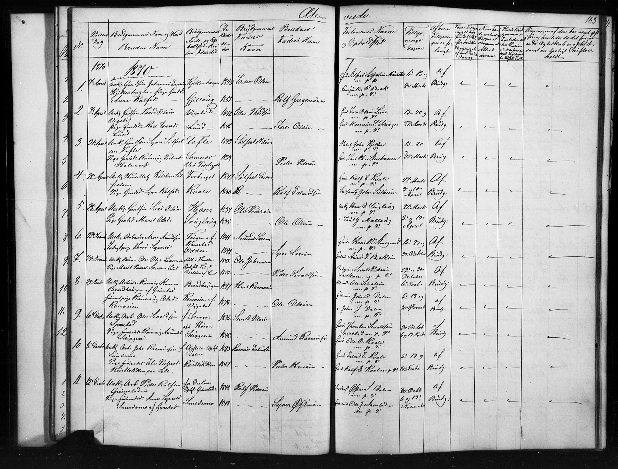 SAH, Skjåk prestekontor, Klokkerbok nr. 1, 1865-1893, s. 163