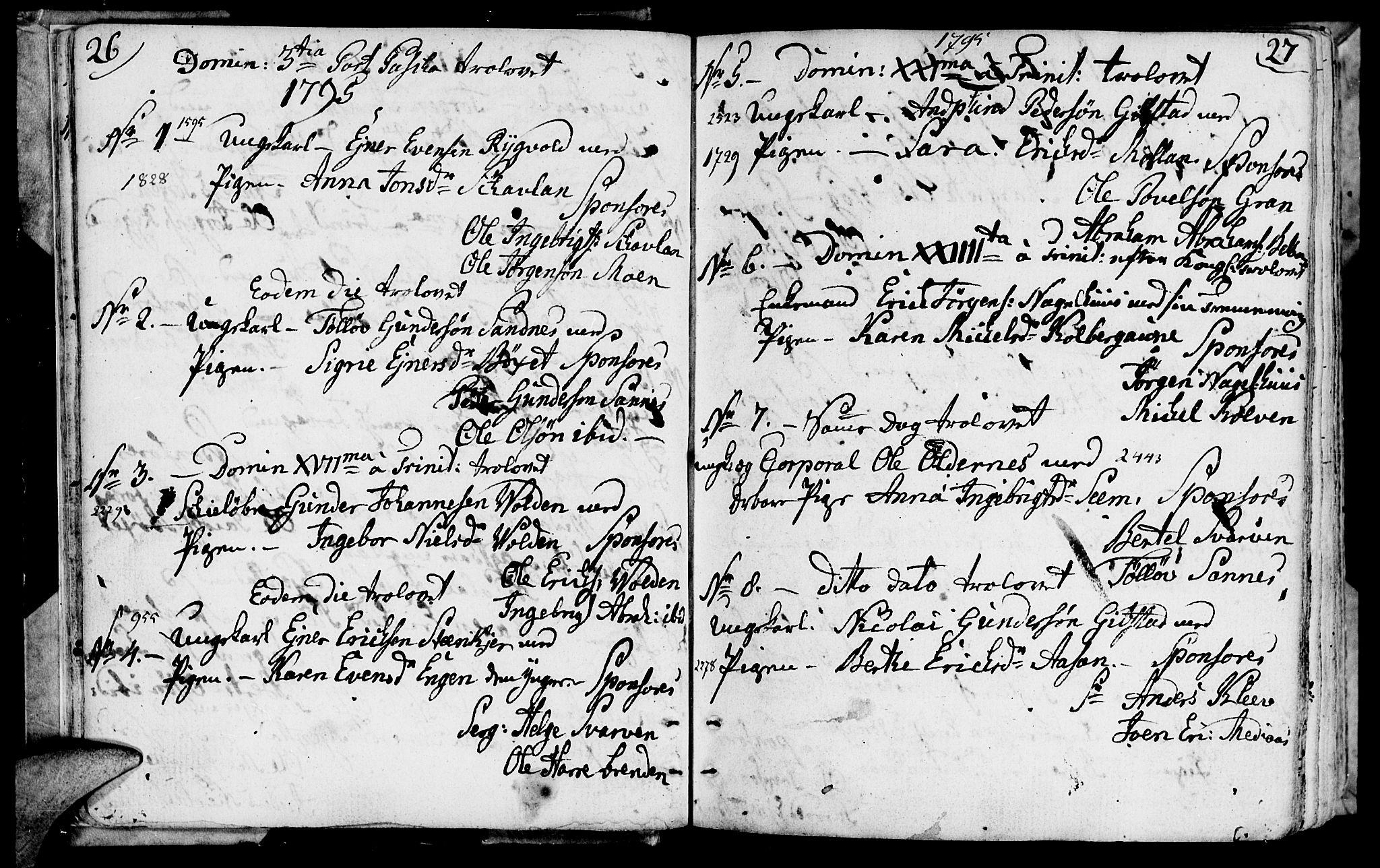 SAT, Ministerialprotokoller, klokkerbøker og fødselsregistre - Nord-Trøndelag, 749/L0468: Ministerialbok nr. 749A02, 1787-1817, s. 26-27