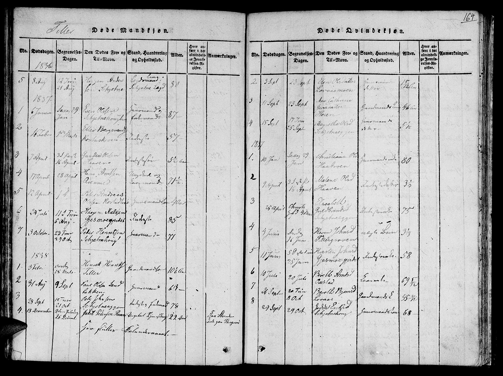 SAT, Ministerialprotokoller, klokkerbøker og fødselsregistre - Sør-Trøndelag, 618/L0440: Ministerialbok nr. 618A04 /2, 1816-1843, s. 164