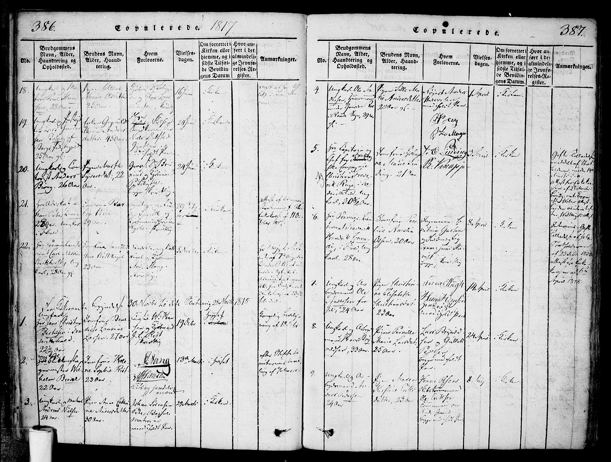 SAO, Halden prestekontor Kirkebøker, F/Fa/L0003: Ministerialbok nr. I 3, 1815-1834, s. 386-387