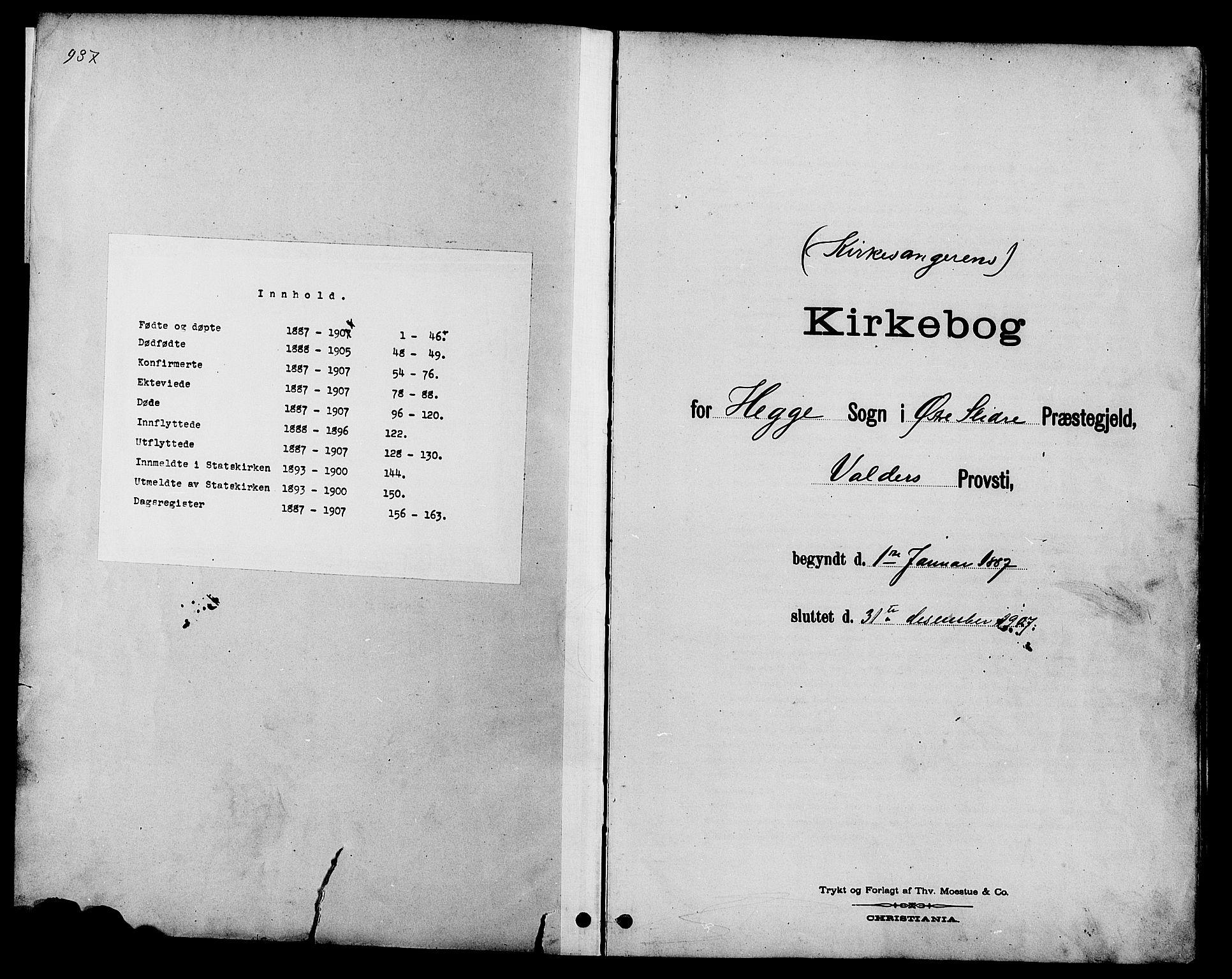 SAH, Øystre Slidre prestekontor, Klokkerbok nr. 4, 1887-1907