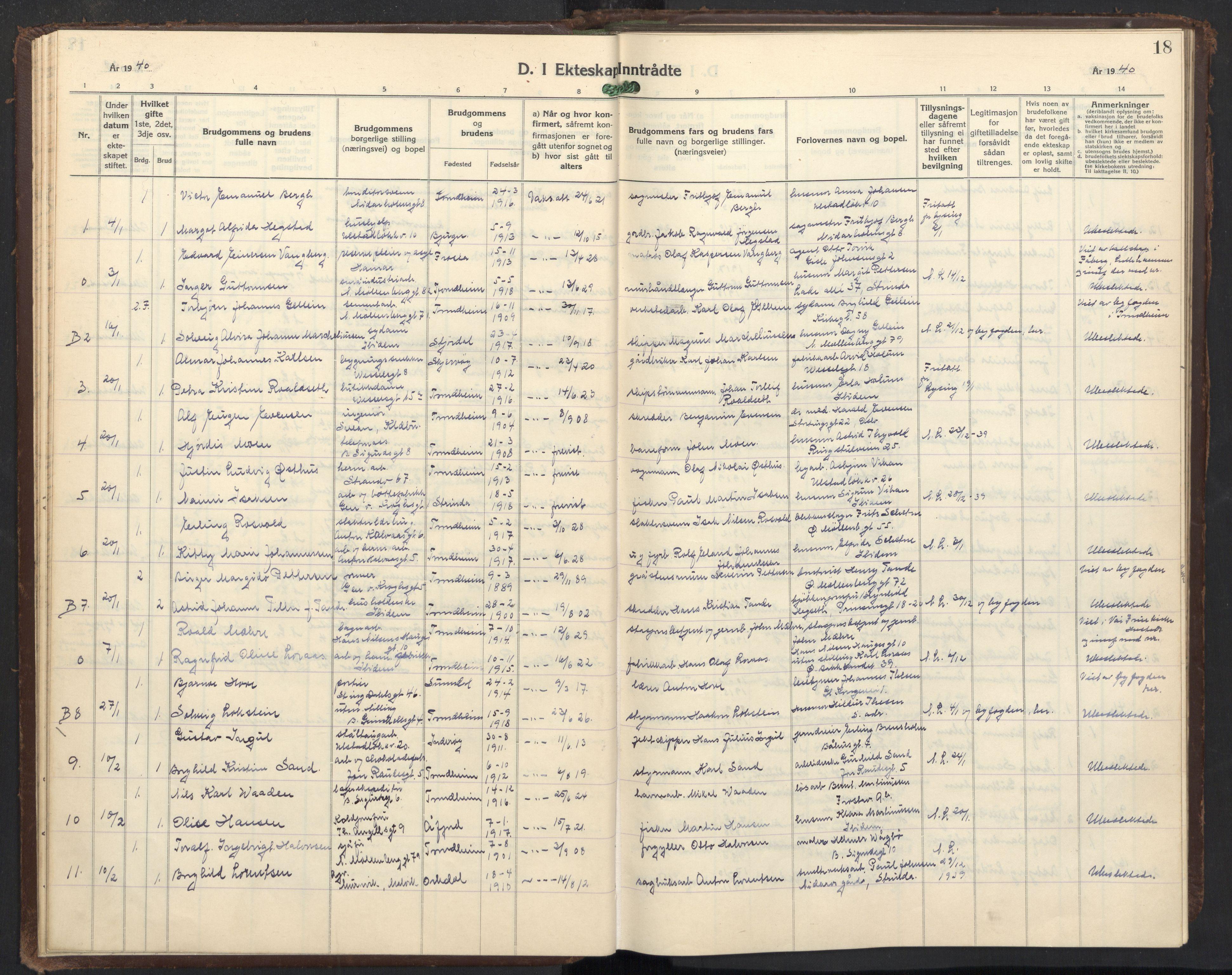 SAT, Ministerialprotokoller, klokkerbøker og fødselsregistre - Sør-Trøndelag, 605/L0263: Klokkerbok nr. 605C10, 1938-1949, s. 18