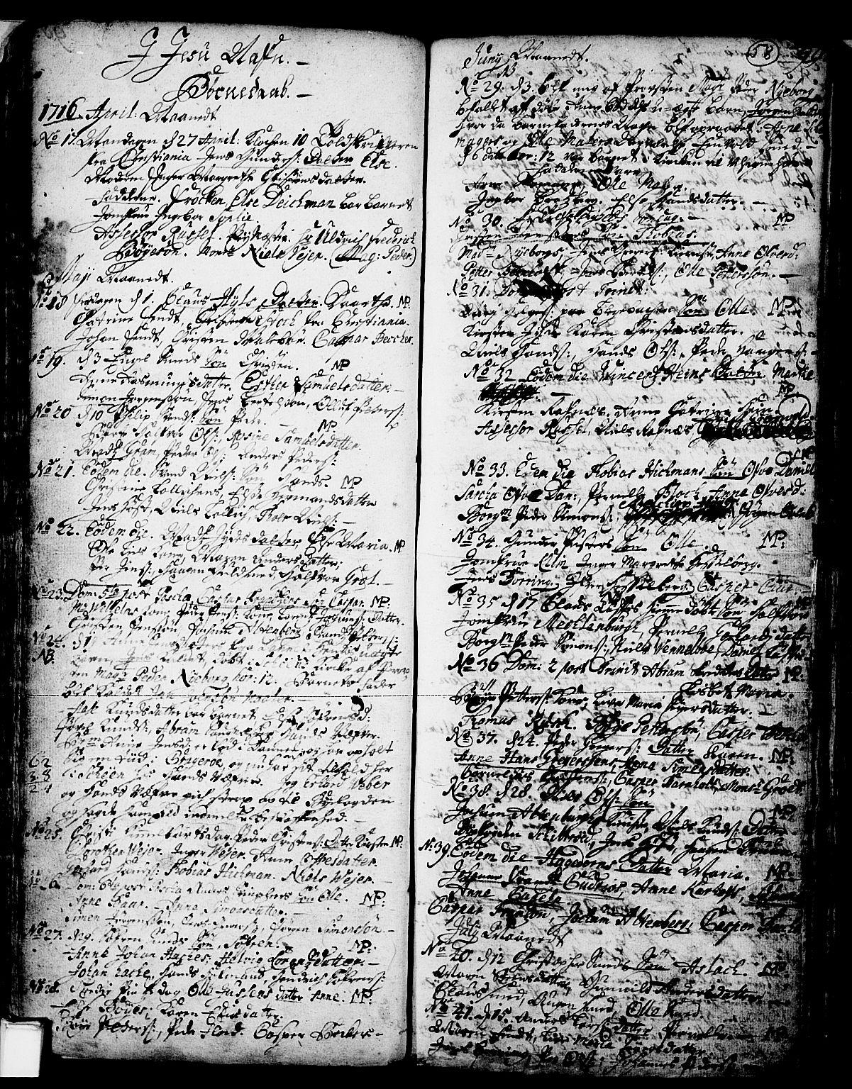 SAKO, Skien kirkebøker, F/Fa/L0002: Ministerialbok nr. 2, 1716-1757, s. 58
