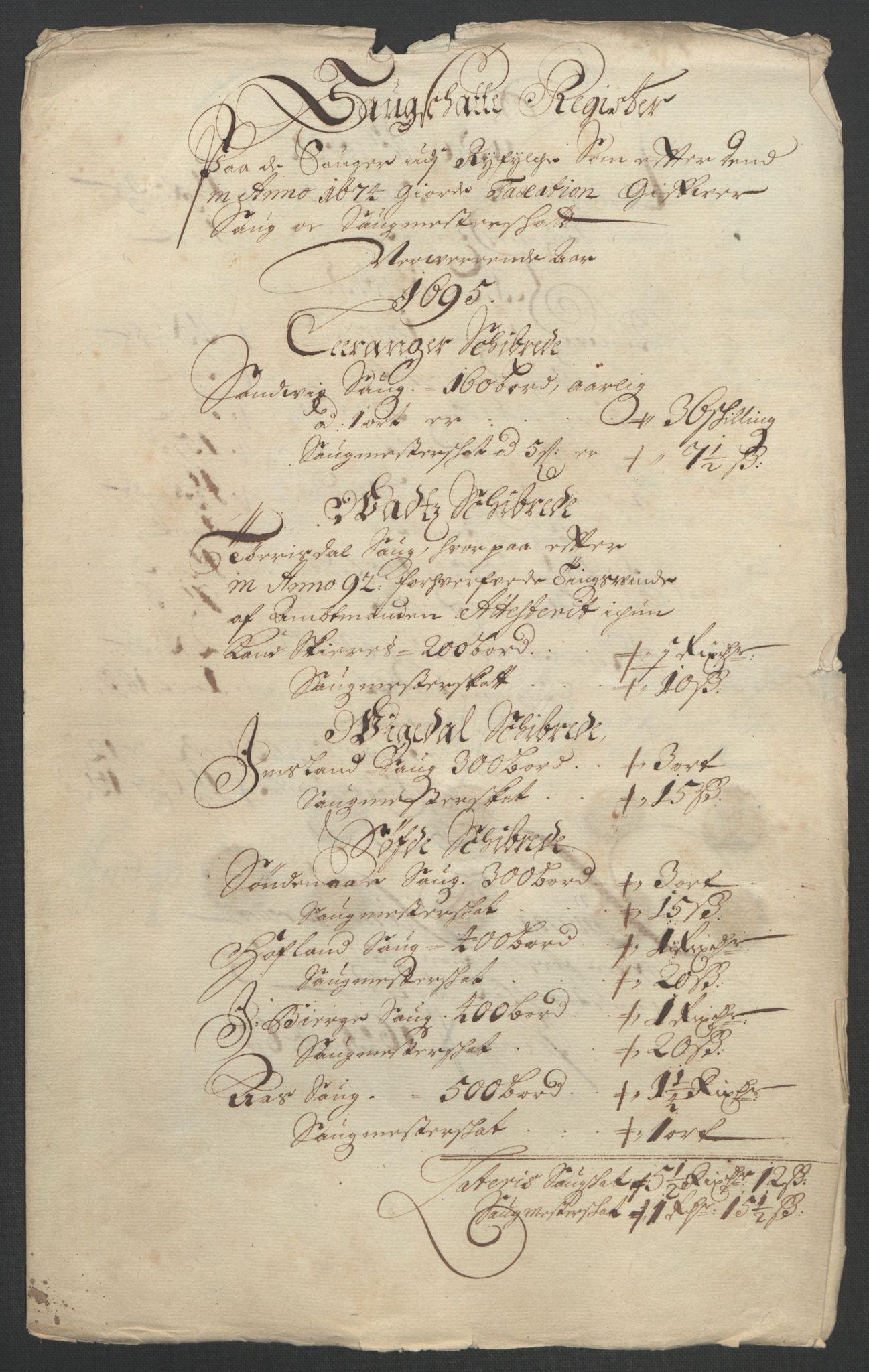 RA, Rentekammeret inntil 1814, Reviderte regnskaper, Fogderegnskap, R47/L2857: Fogderegnskap Ryfylke, 1694-1696, s. 175