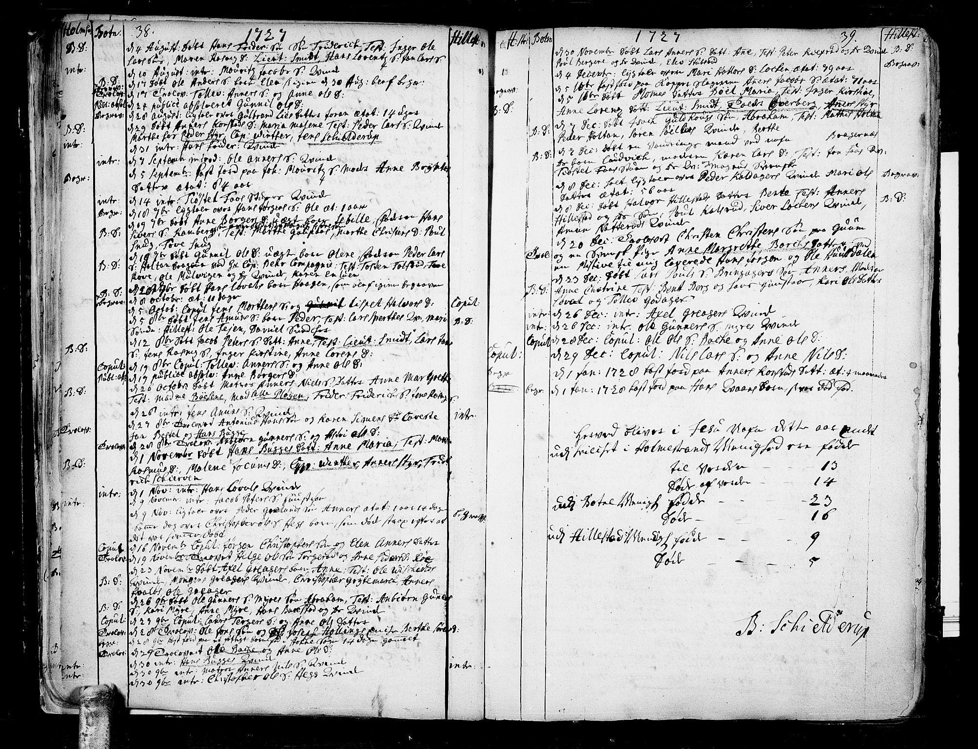 SAKO, Botne kirkebøker, F/Fa/L0001a: Ministerialbok nr. I 1A, 1707-1778, s. 38-39