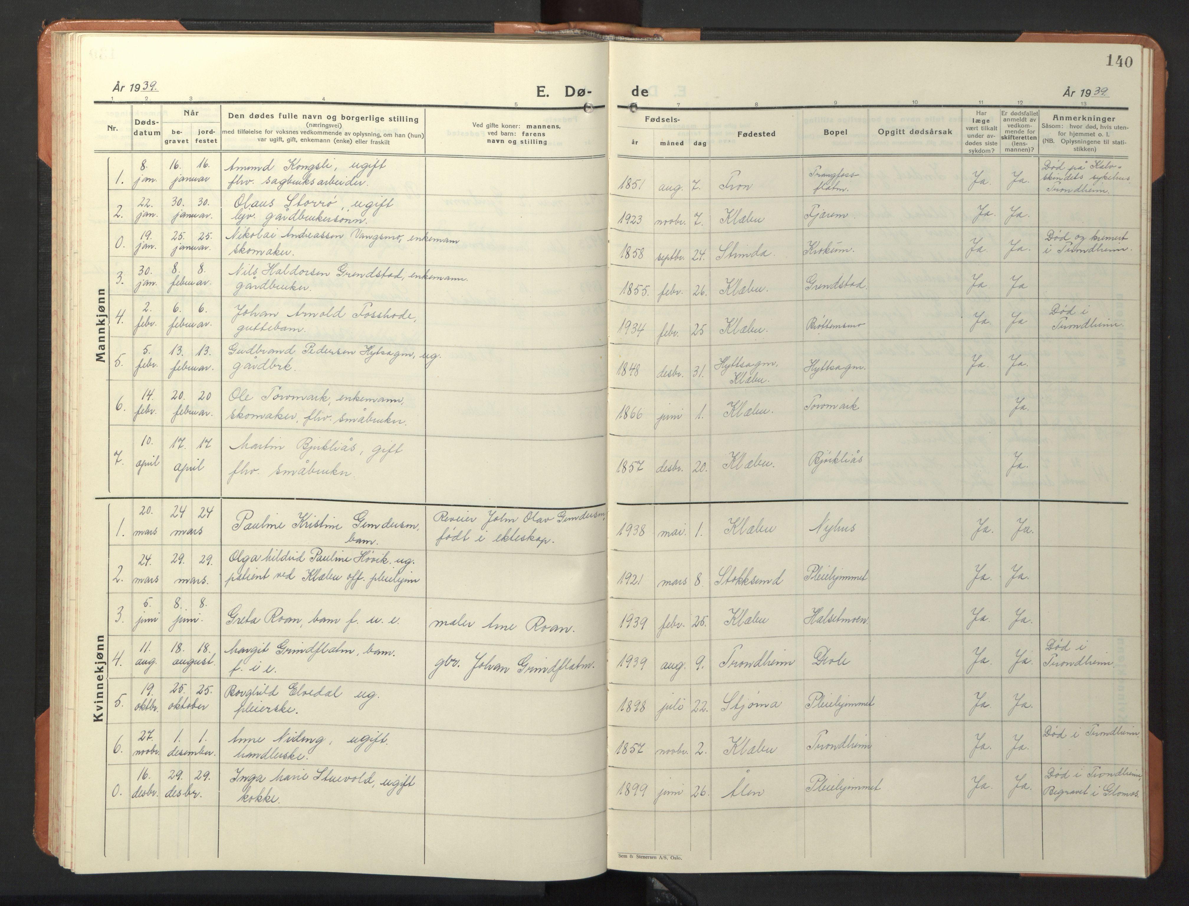 SAT, Ministerialprotokoller, klokkerbøker og fødselsregistre - Sør-Trøndelag, 618/L0454: Klokkerbok nr. 618C05, 1926-1946, s. 140