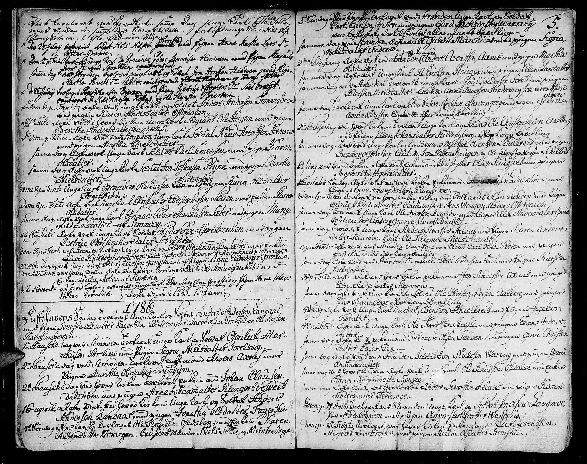 SAT, Ministerialprotokoller, klokkerbøker og fødselsregistre - Nord-Trøndelag, 701/L0004: Ministerialbok nr. 701A04, 1783-1816, s. 5