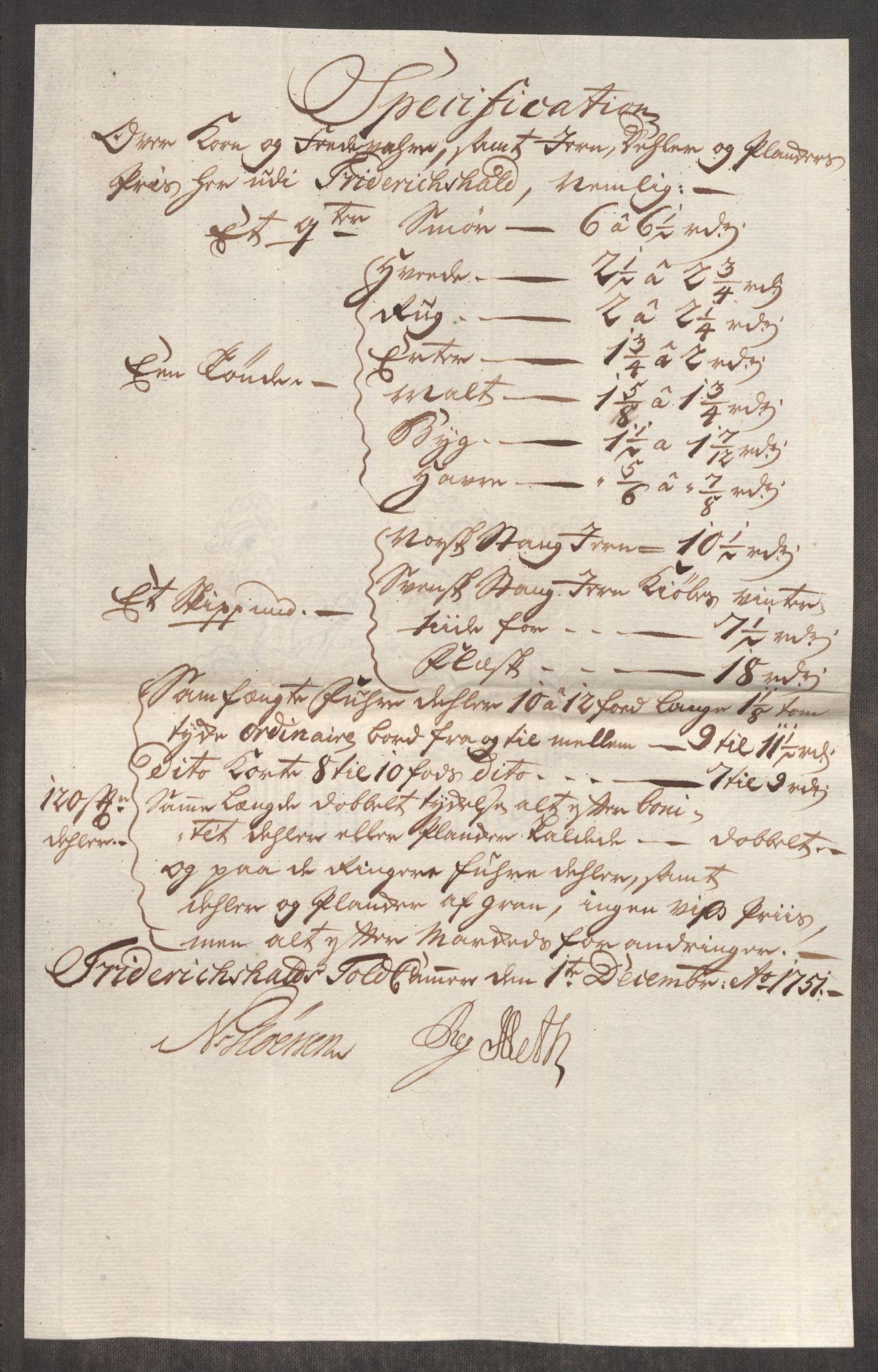 RA, Rentekammeret inntil 1814, Realistisk ordnet avdeling, Oe/L0004: [Ø1]: Priskuranter, 1749-1752, s. 448