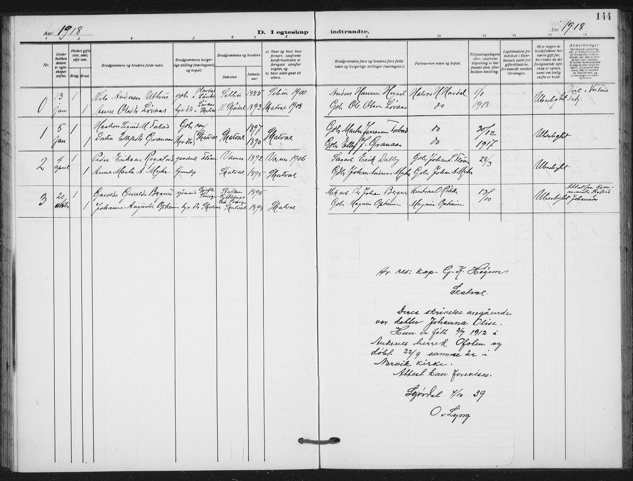 SAT, Ministerialprotokoller, klokkerbøker og fødselsregistre - Nord-Trøndelag, 712/L0102: Ministerialbok nr. 712A03, 1916-1929, s. 144
