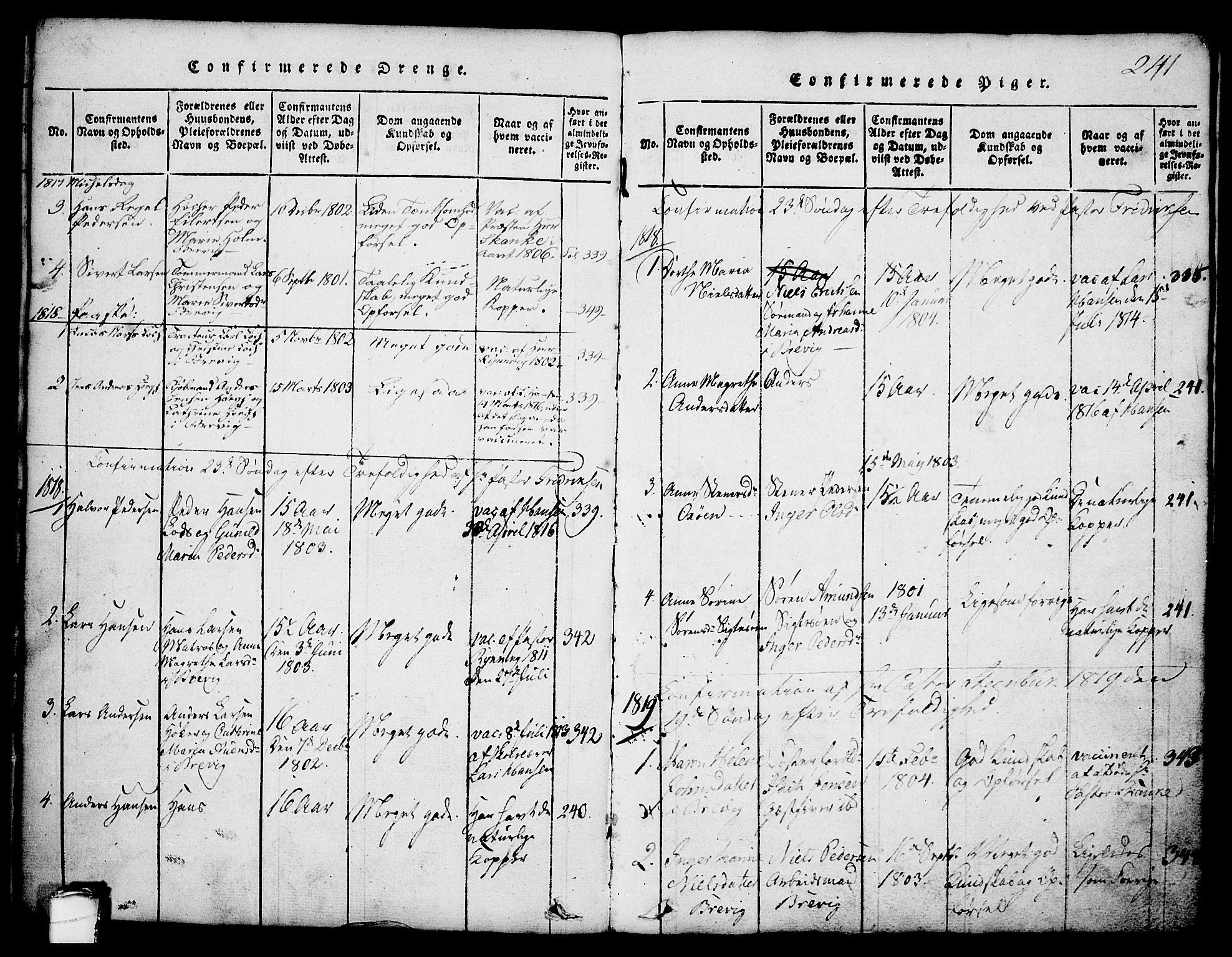 SAKO, Brevik kirkebøker, G/Ga/L0001: Klokkerbok nr. 1, 1814-1845, s. 241