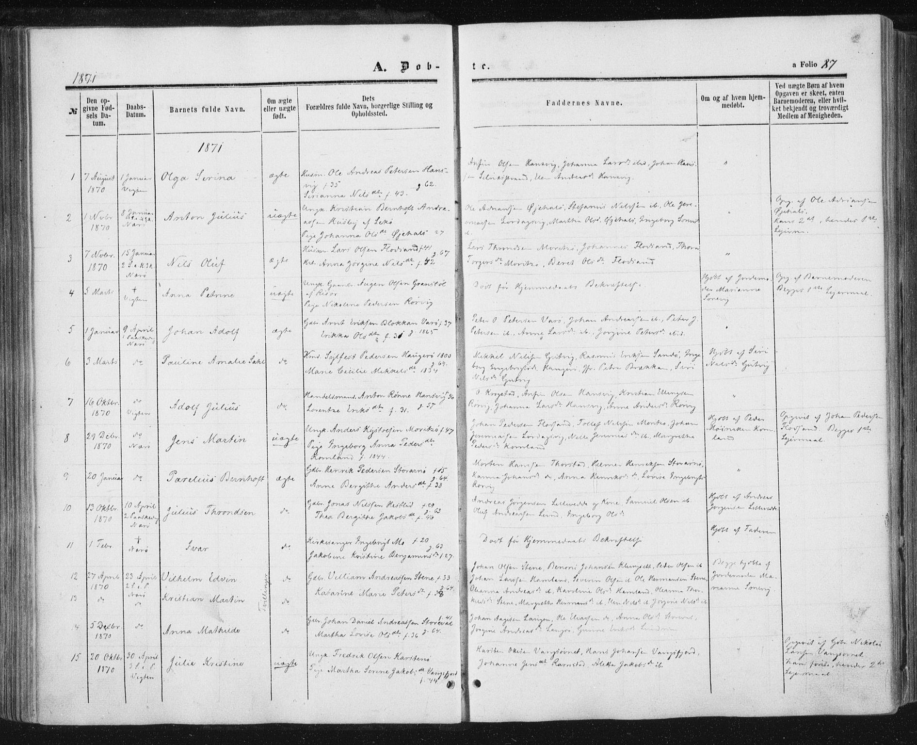 SAT, Ministerialprotokoller, klokkerbøker og fødselsregistre - Nord-Trøndelag, 784/L0670: Ministerialbok nr. 784A05, 1860-1876, s. 87